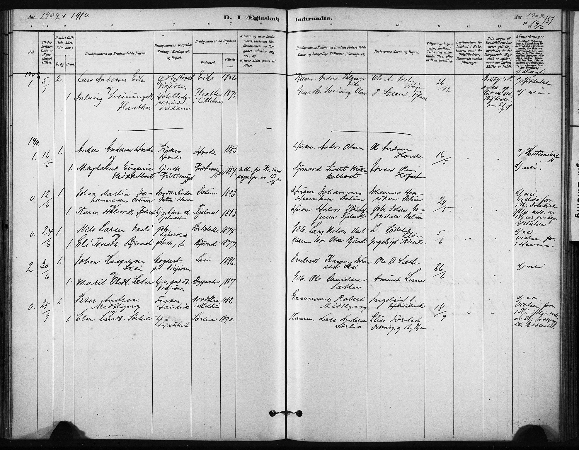 SAT, Ministerialprotokoller, klokkerbøker og fødselsregistre - Sør-Trøndelag, 631/L0512: Ministerialbok nr. 631A01, 1879-1912, s. 157