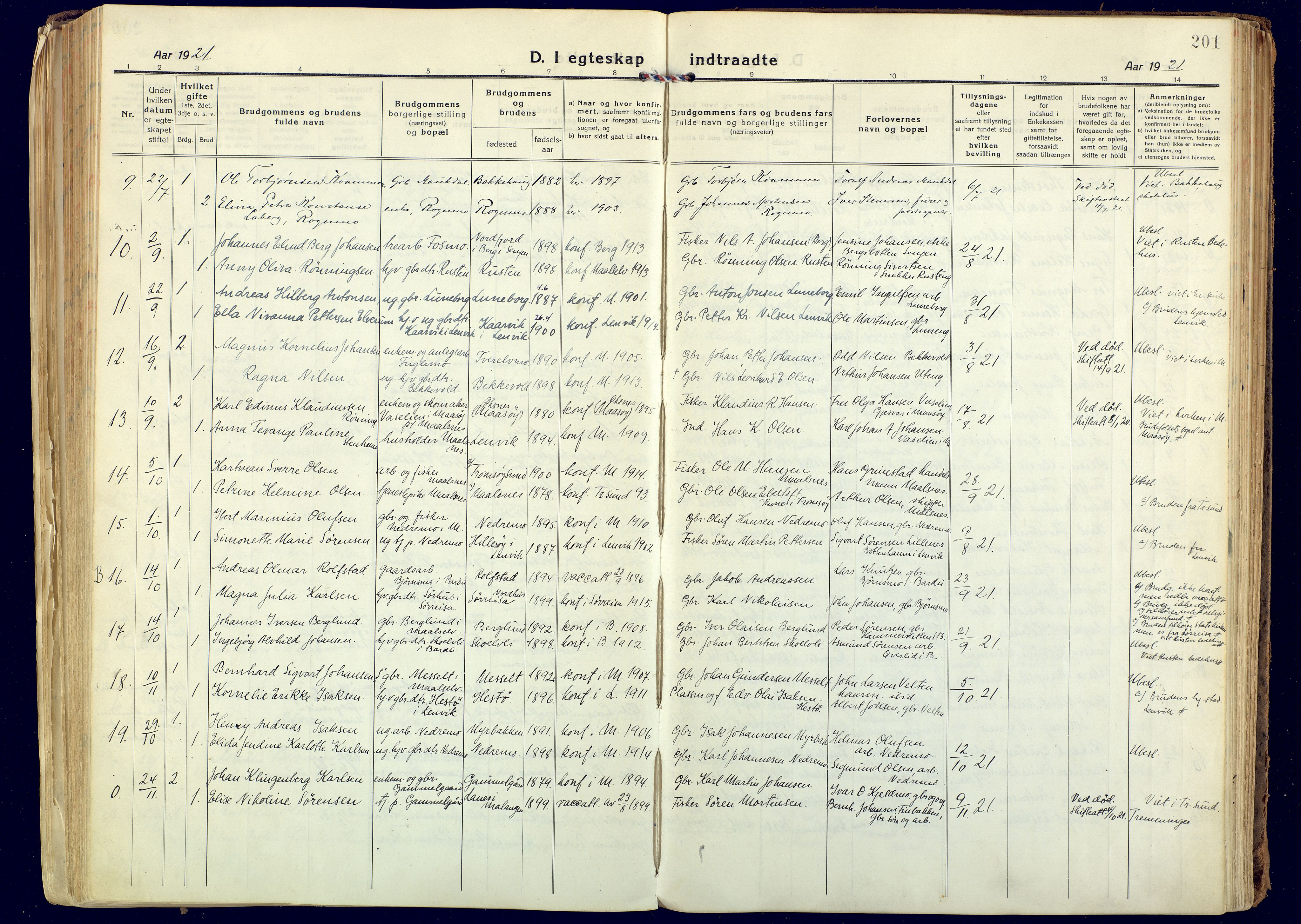 SATØ, Målselv sokneprestembete, Ministerialbok nr. 14, 1919-1932, s. 201