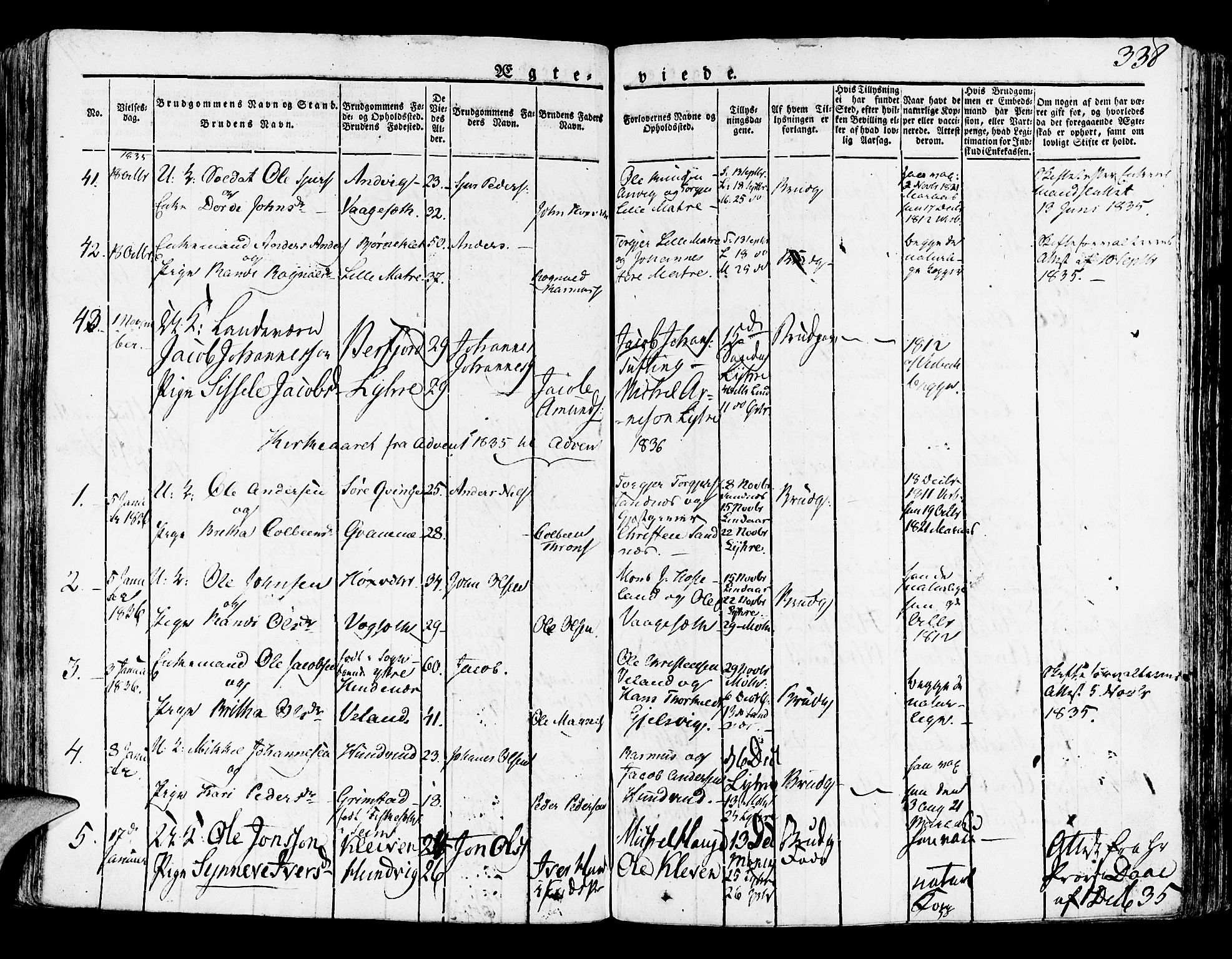 SAB, Lindås Sokneprestembete, H/Haa: Ministerialbok nr. A 8, 1823-1836, s. 338