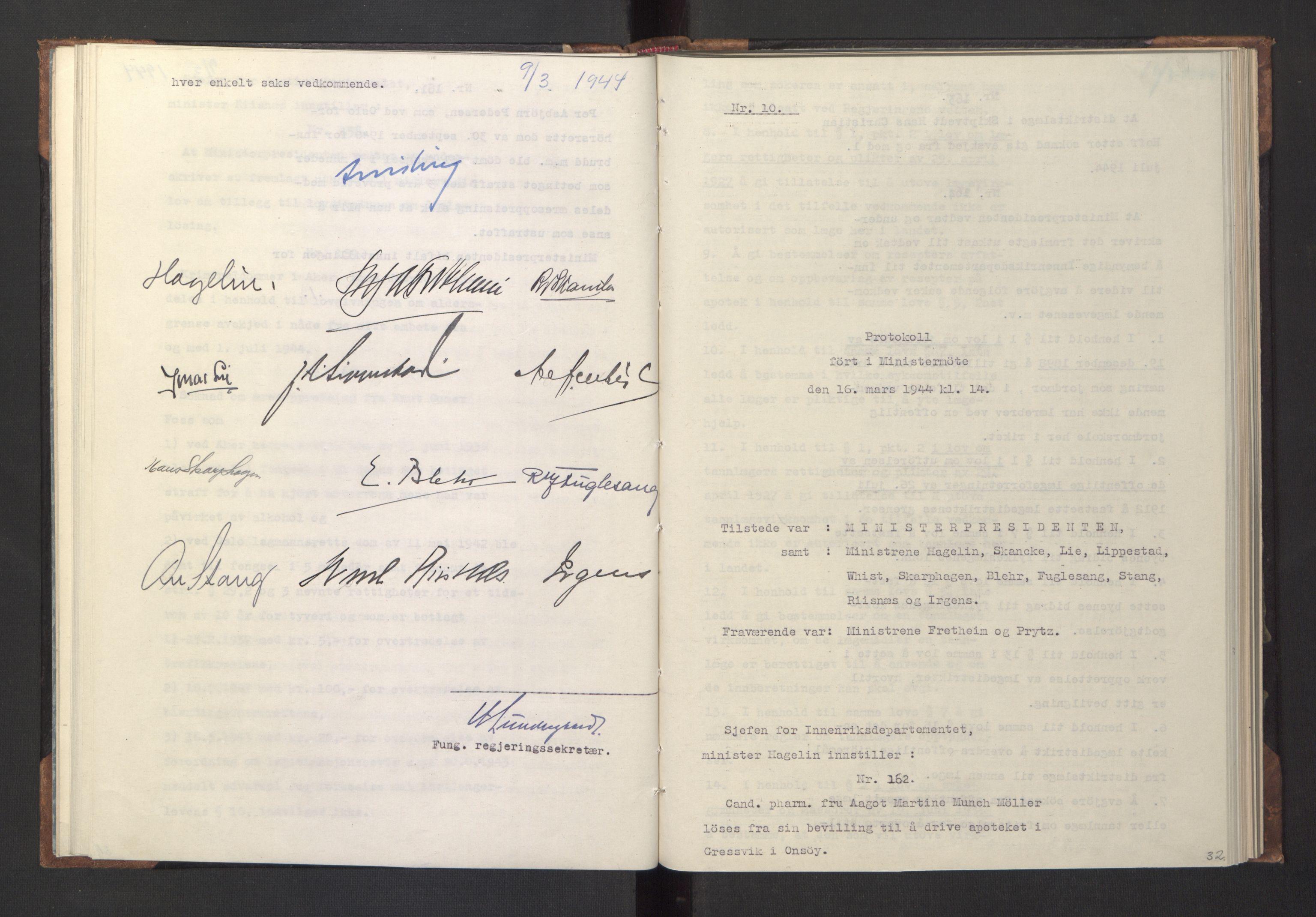 RA, NS-administrasjonen 1940-1945 (Statsrådsekretariatet, de kommisariske statsråder mm), D/Da/L0005: Protokoll fra ministermøter, 1944, s. 31b-32a