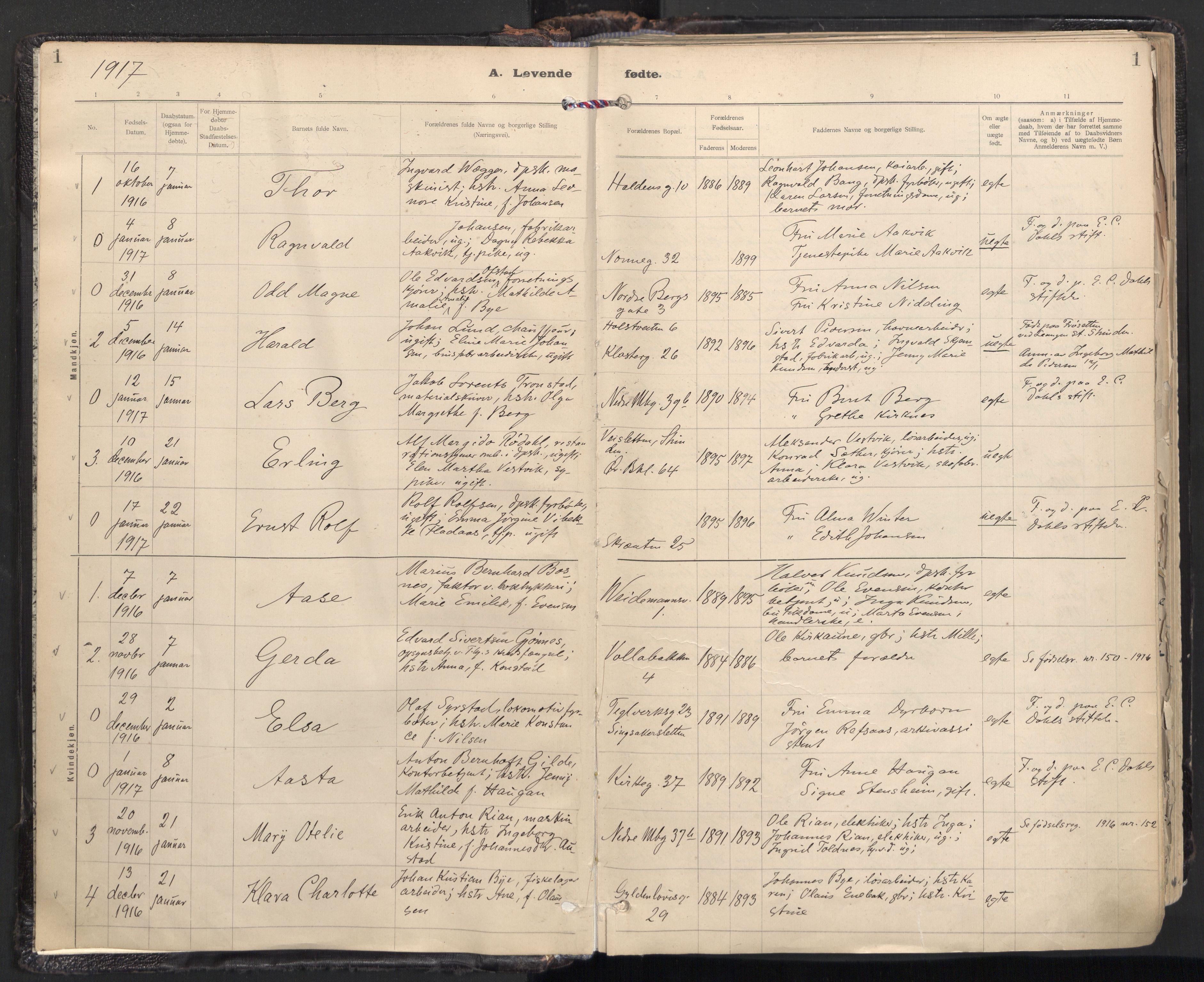 SAT, Ministerialprotokoller, klokkerbøker og fødselsregistre - Sør-Trøndelag, 604/L0205: Ministerialbok nr. 604A25, 1917-1932, s. 1