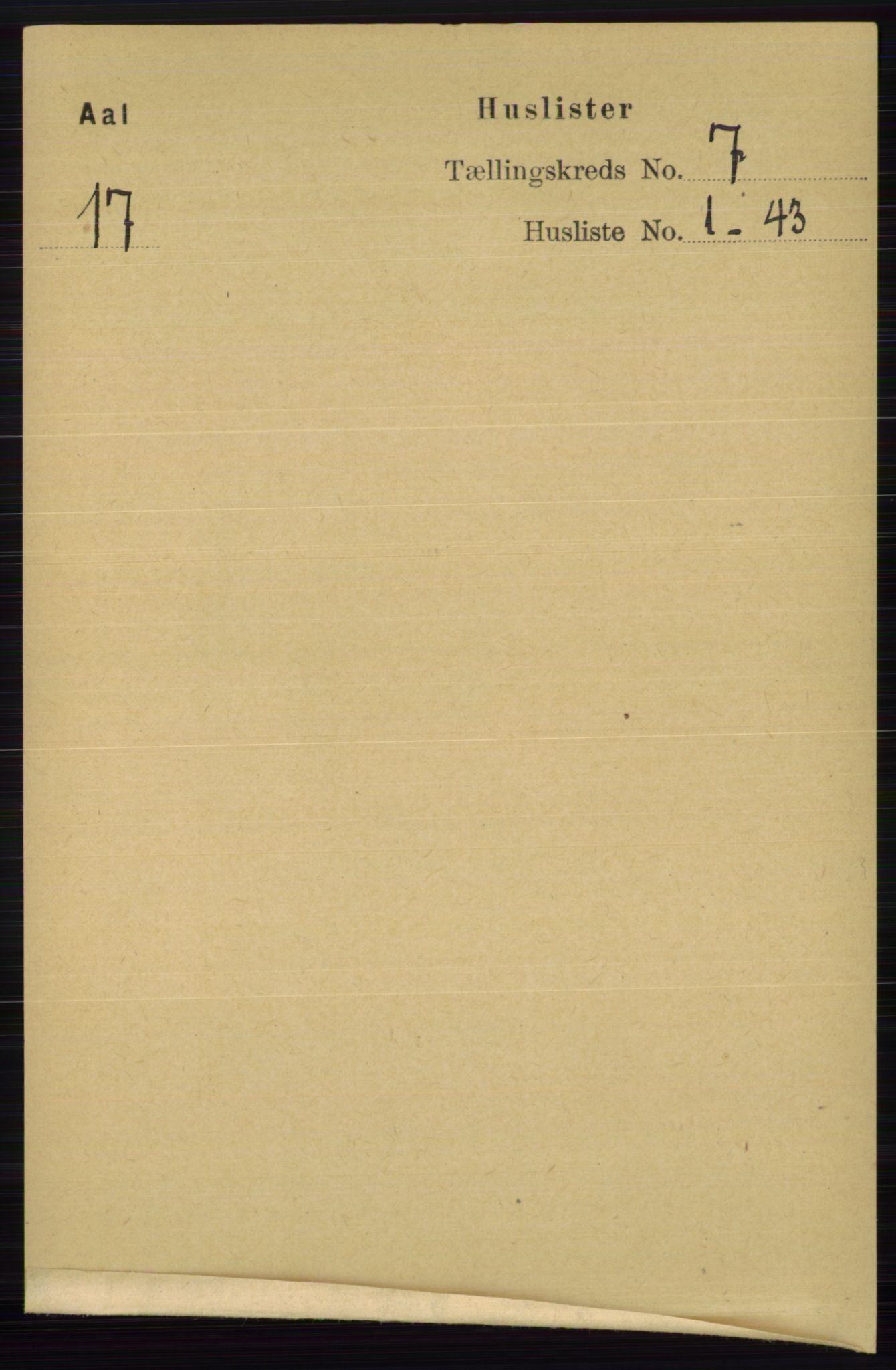 RA, Folketelling 1891 for 0619 Ål herred, 1891, s. 1781