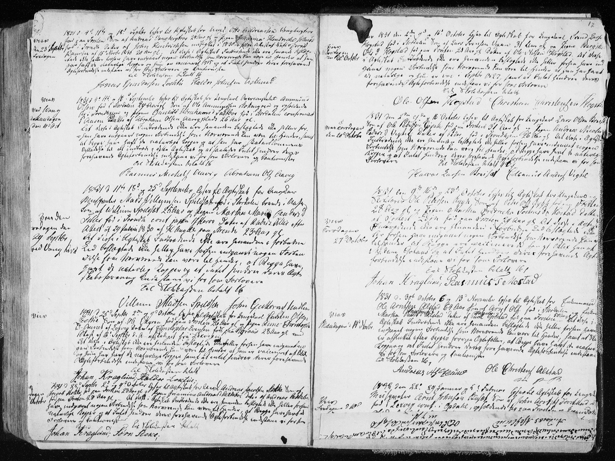 SAT, Ministerialprotokoller, klokkerbøker og fødselsregistre - Nord-Trøndelag, 713/L0114: Ministerialbok nr. 713A05, 1827-1839, s. 17