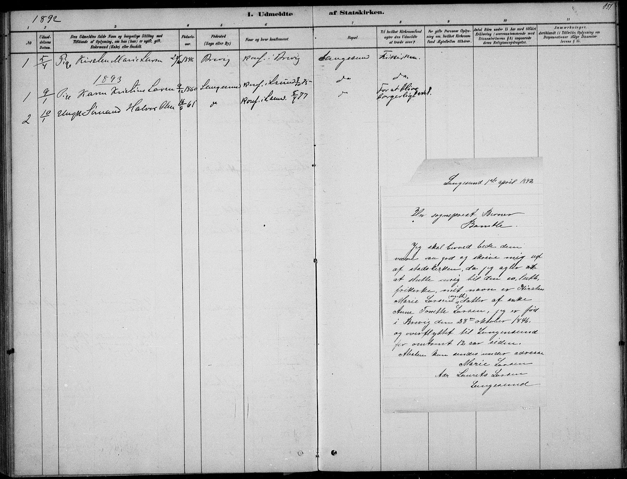 SAKO, Langesund kirkebøker, F/Fa/L0002: Ministerialbok nr. 2, 1878-1892, s. 151