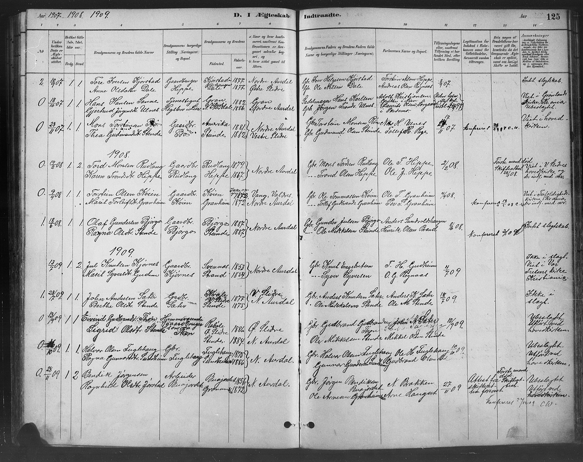 SAH, Nord-Aurdal prestekontor, Klokkerbok nr. 8, 1883-1916, s. 125