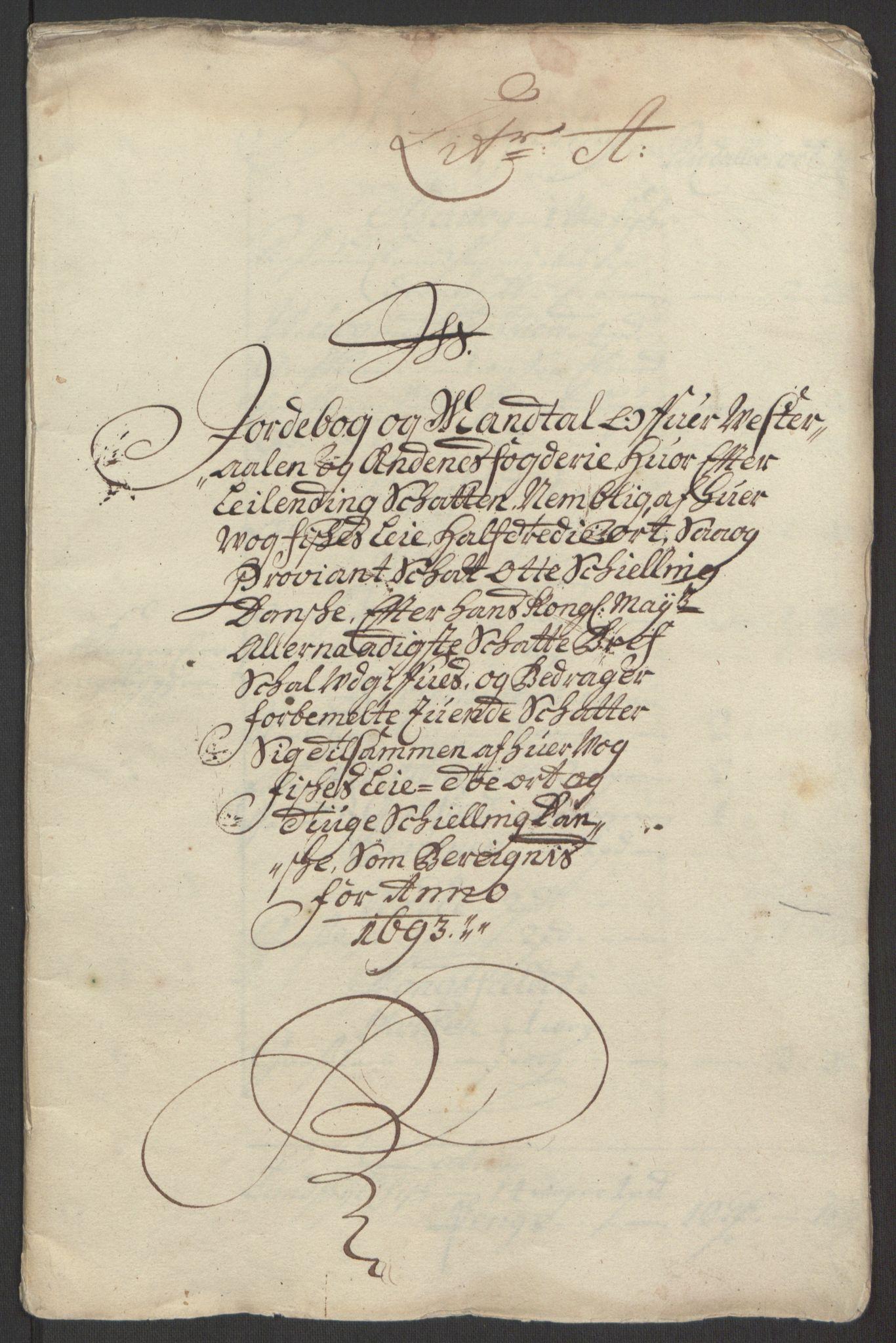 RA, Rentekammeret inntil 1814, Reviderte regnskaper, Fogderegnskap, R67/L4676: Fogderegnskap Vesterålen, Andenes og Lofoten, 1691-1693, s. 241