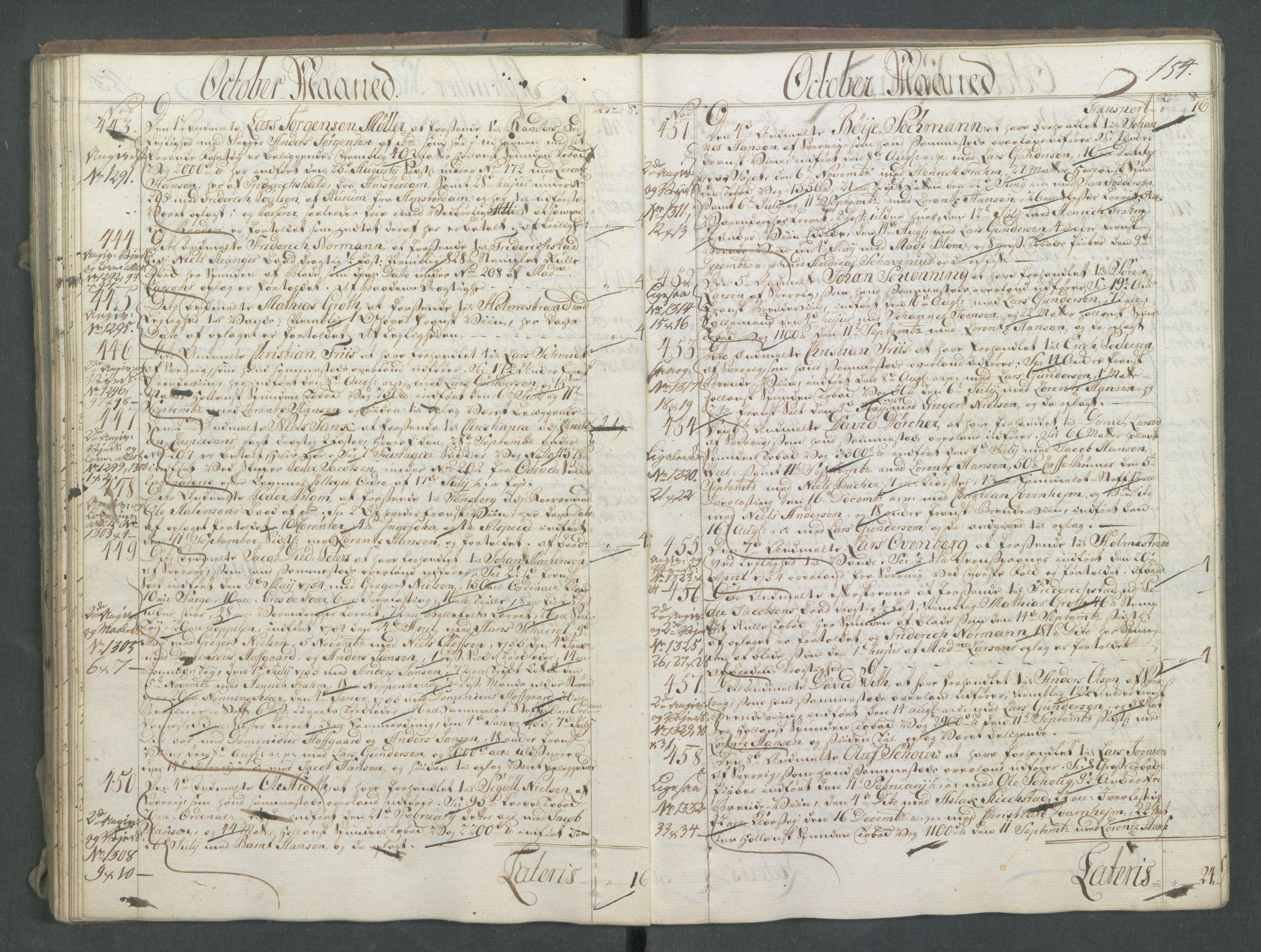 RA, Generaltollkammeret, tollregnskaper, R01/L0028: Tollregnskaper Fredrikshald, 1756, s. 154