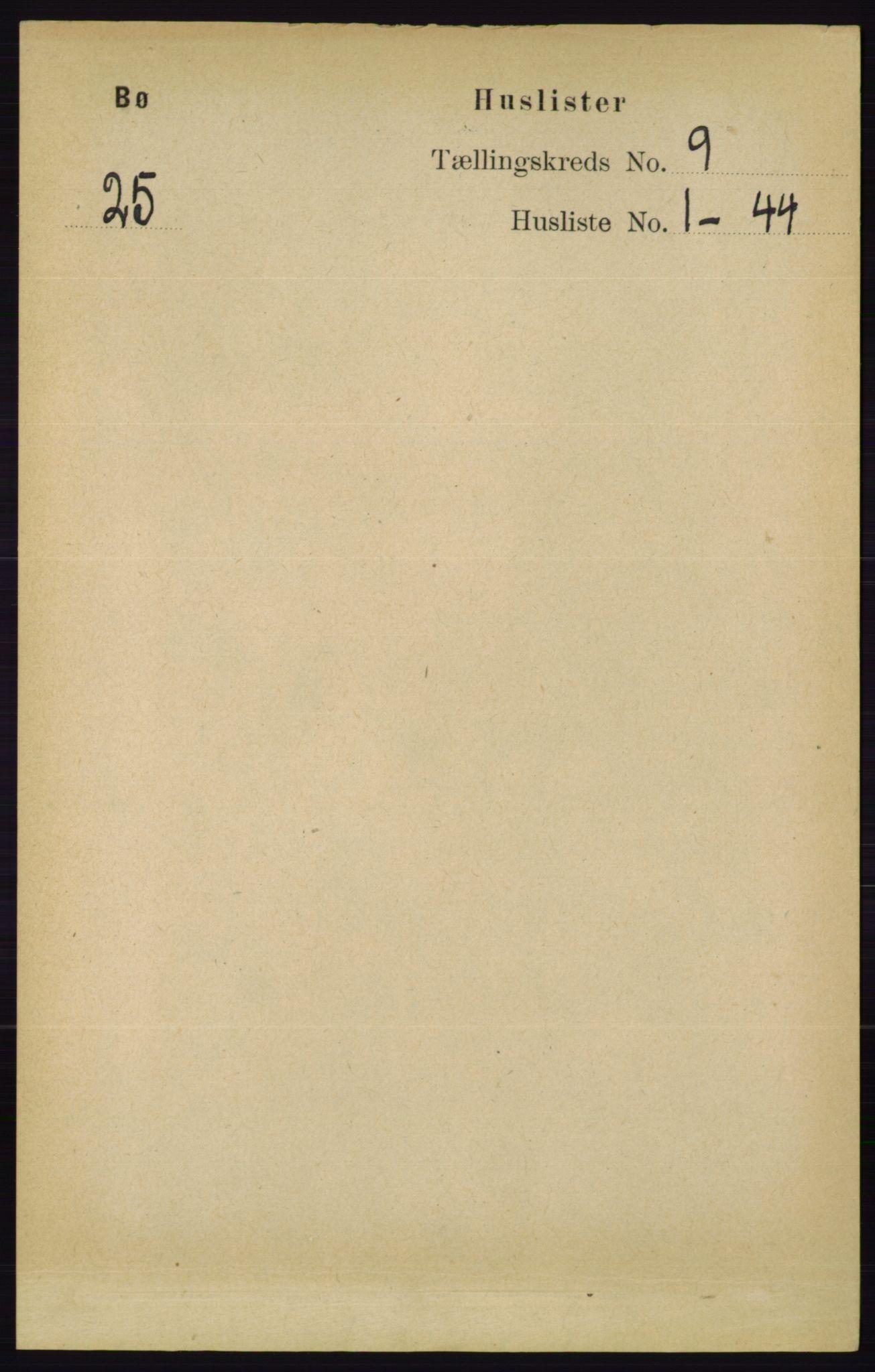 RA, Folketelling 1891 for 0821 Bø herred, 1891, s. 2833