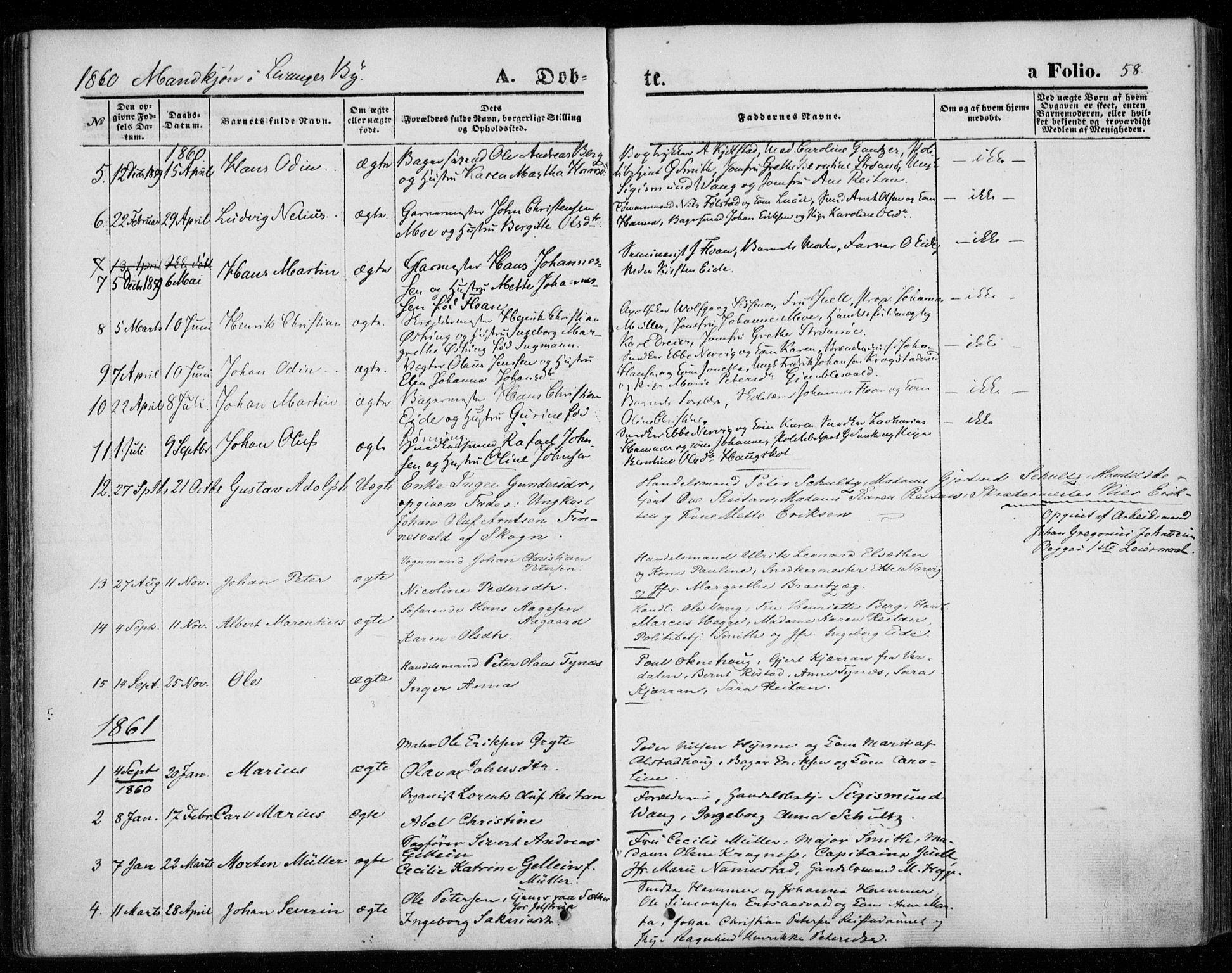 SAT, Ministerialprotokoller, klokkerbøker og fødselsregistre - Nord-Trøndelag, 720/L0184: Ministerialbok nr. 720A02 /1, 1855-1863, s. 58