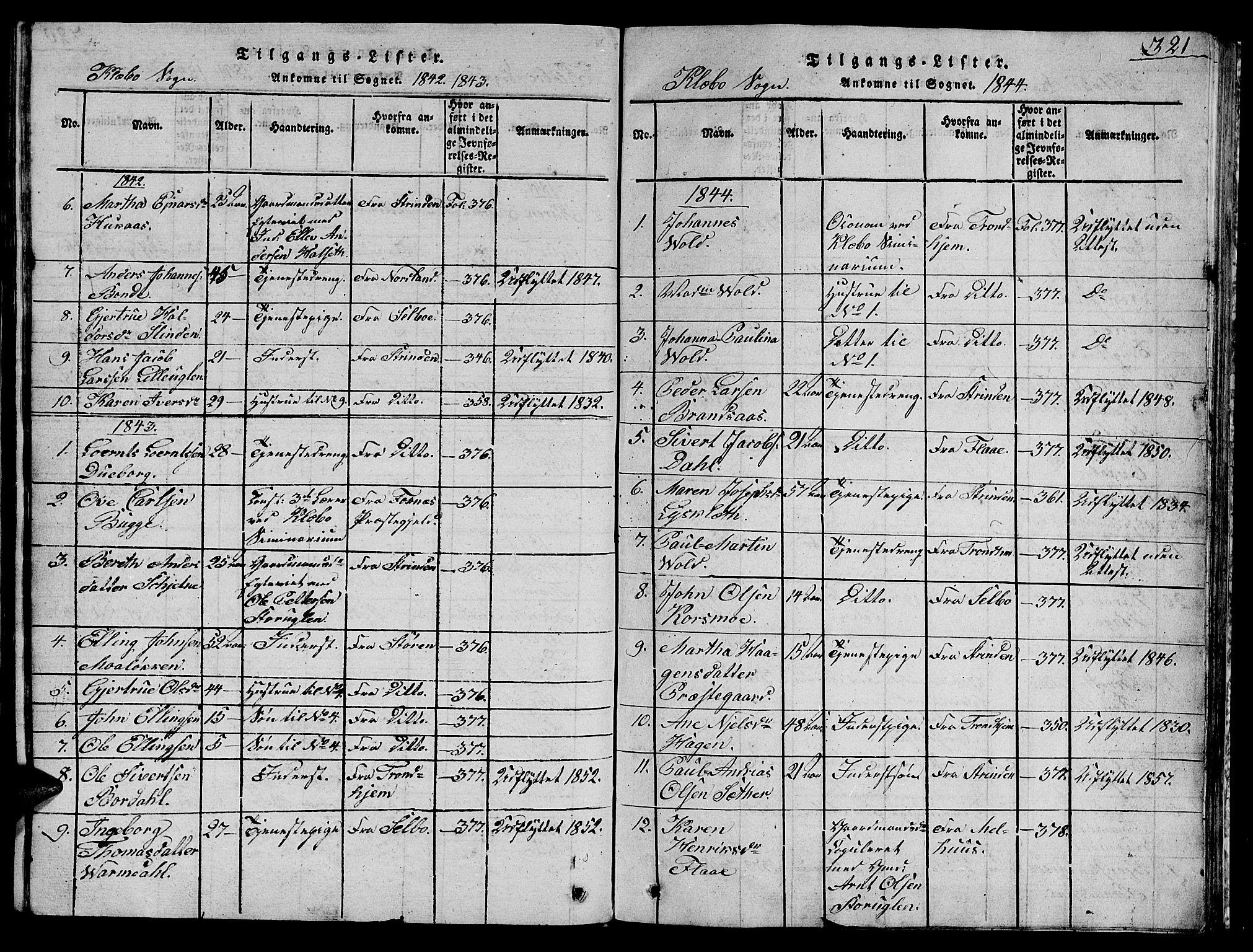 SAT, Ministerialprotokoller, klokkerbøker og fødselsregistre - Sør-Trøndelag, 618/L0450: Klokkerbok nr. 618C01, 1816-1865, s. 321
