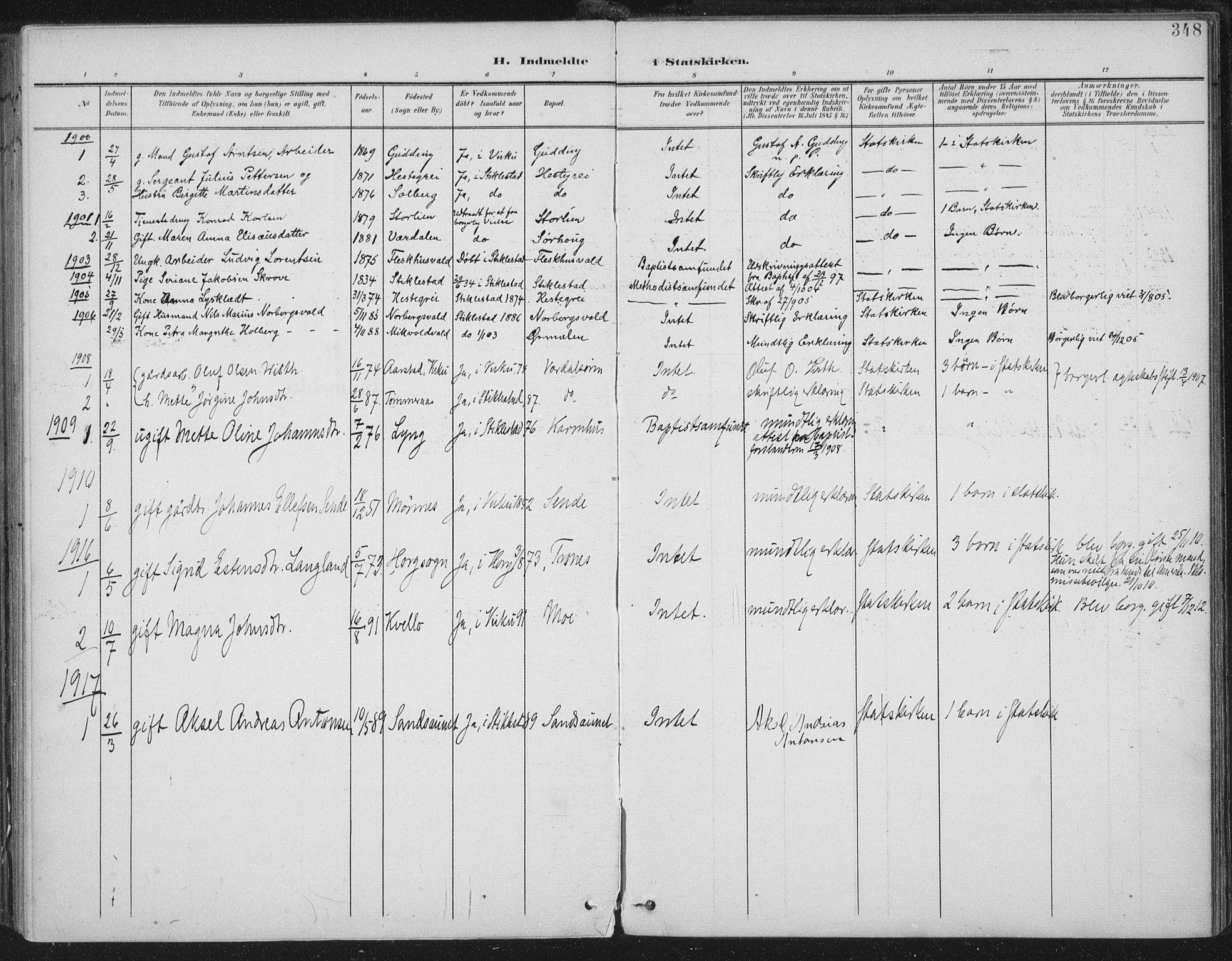 SAT, Ministerialprotokoller, klokkerbøker og fødselsregistre - Nord-Trøndelag, 723/L0246: Ministerialbok nr. 723A15, 1900-1917, s. 348