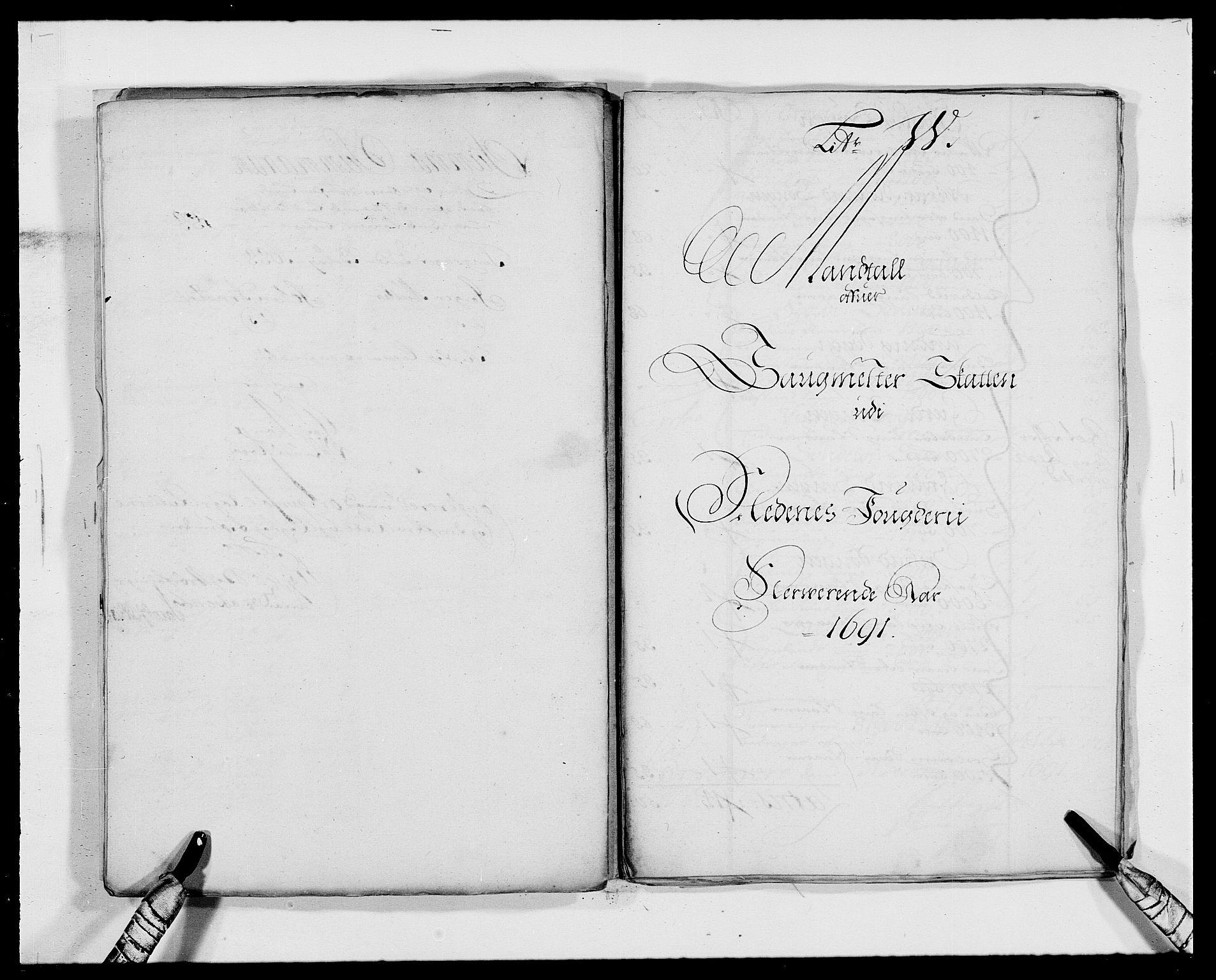 RA, Rentekammeret inntil 1814, Reviderte regnskaper, Fogderegnskap, R39/L2311: Fogderegnskap Nedenes, 1690-1692, s. 91