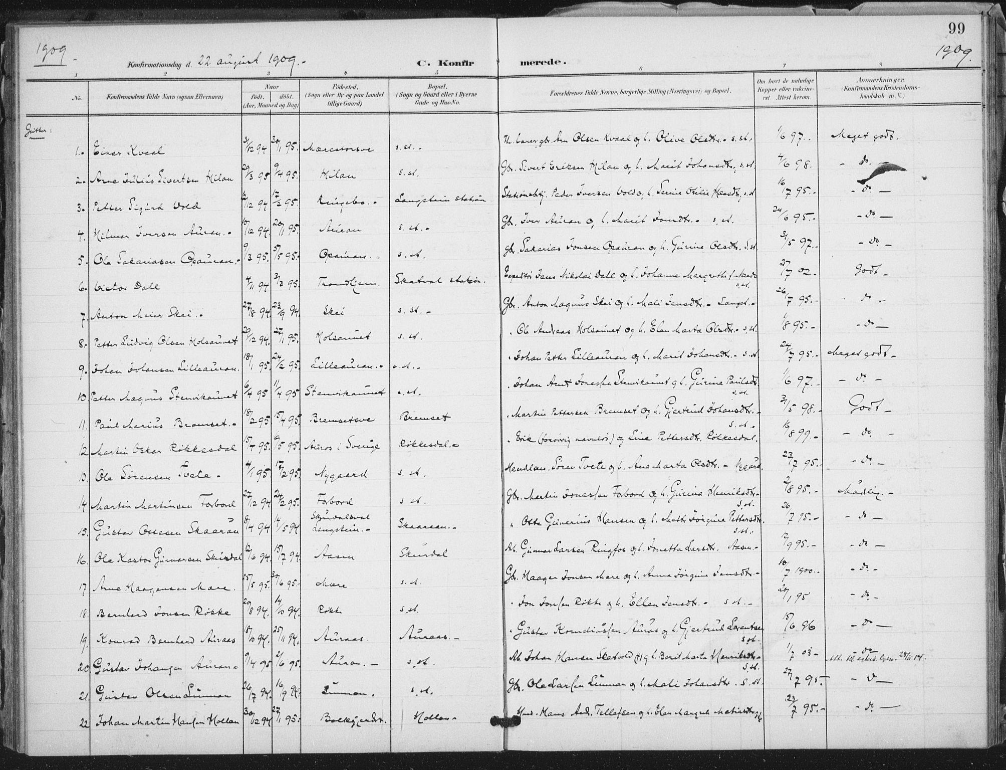 SAT, Ministerialprotokoller, klokkerbøker og fødselsregistre - Nord-Trøndelag, 712/L0101: Ministerialbok nr. 712A02, 1901-1916, s. 99