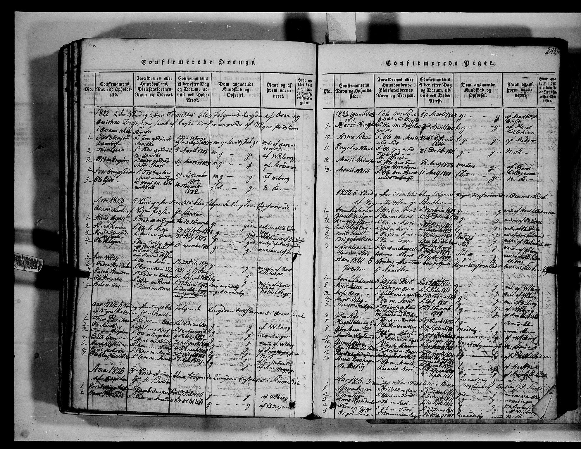 SAH, Fron prestekontor, H/Ha/Hab/L0002: Klokkerbok nr. 2, 1816-1850, s. 245