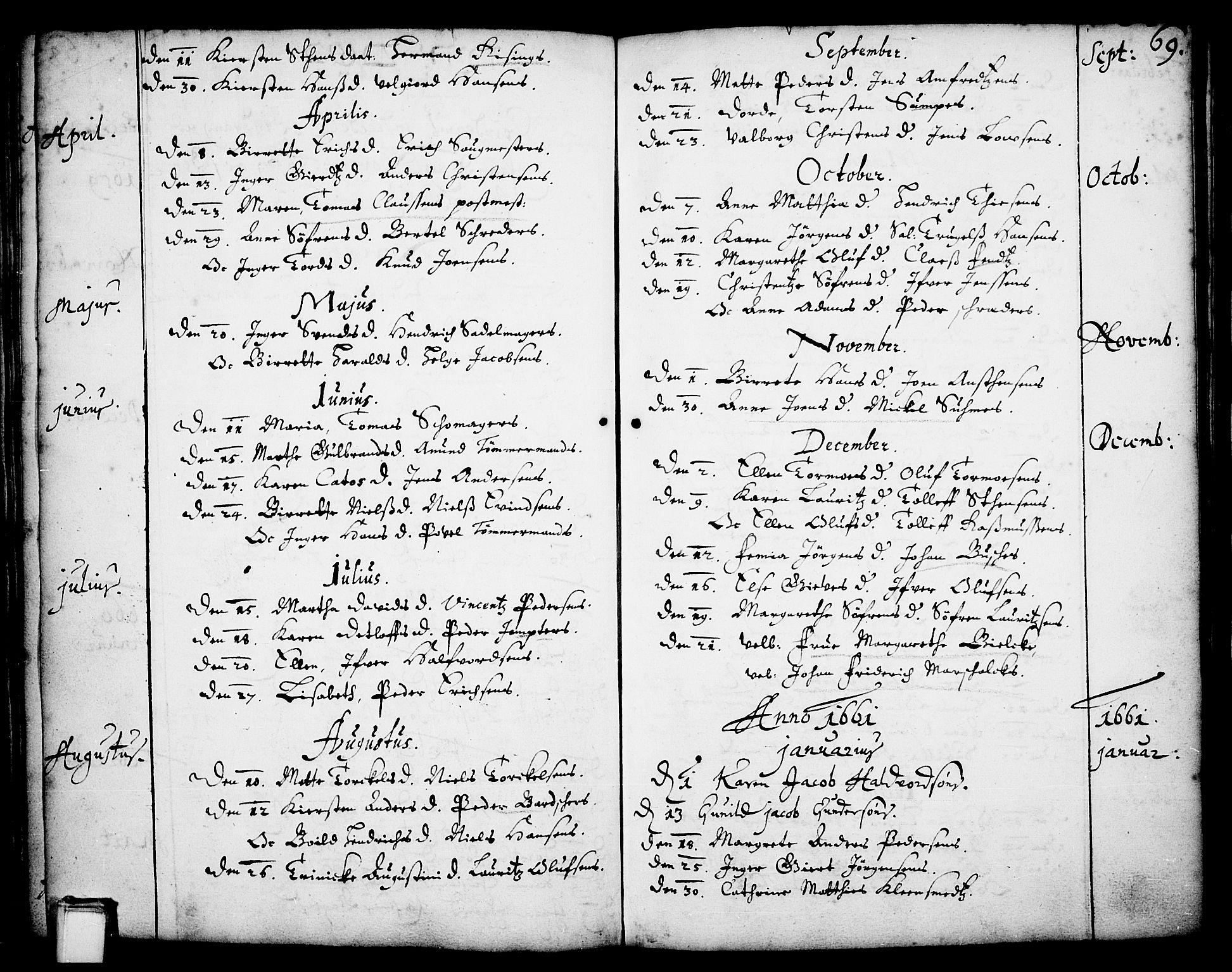 SAKO, Skien kirkebøker, F/Fa/L0001: Ministerialbok nr. 1, 1659-1679, s. 69