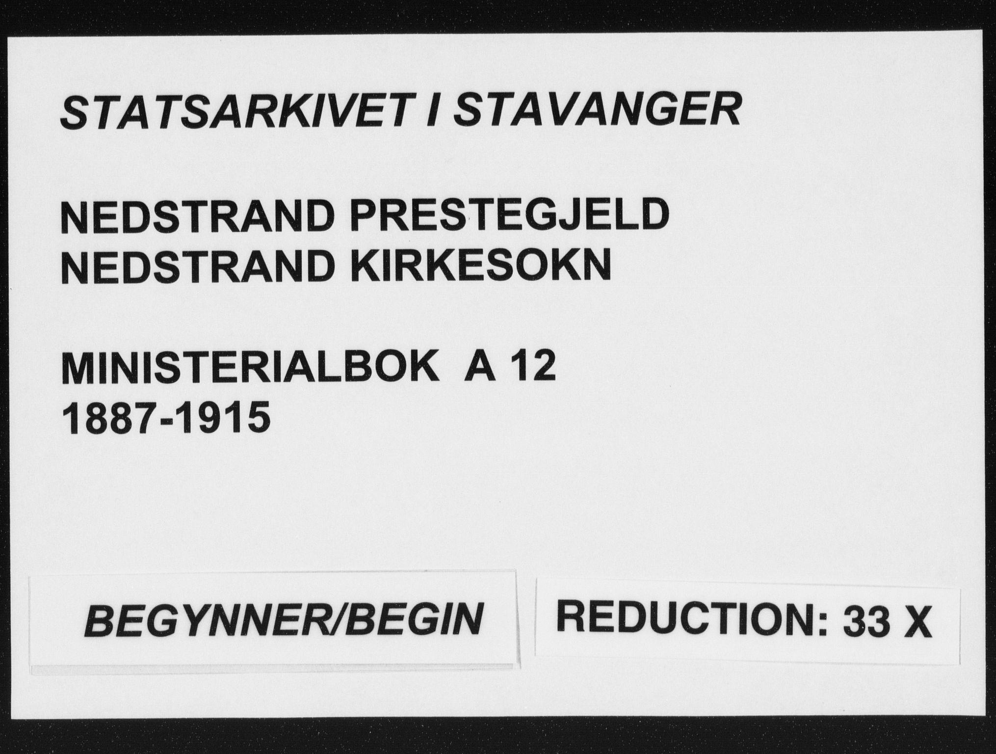 SAST, Nedstrand sokneprestkontor, IV: Ministerialbok nr. A 12, 1887-1915