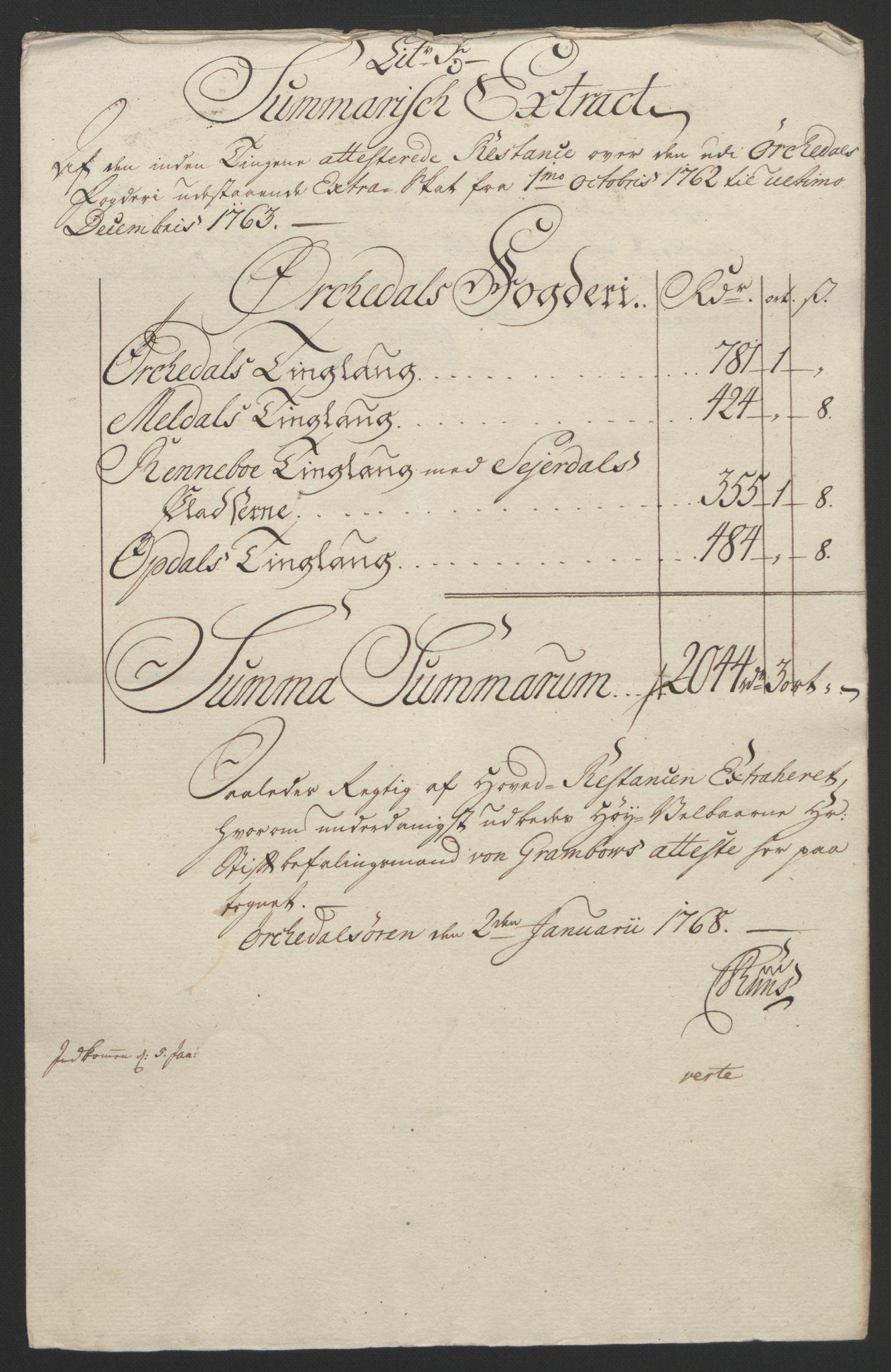 RA, Rentekammeret inntil 1814, Reviderte regnskaper, Fogderegnskap, R60/L4094: Ekstraskatten Orkdal og Gauldal, 1762-1765, s. 110