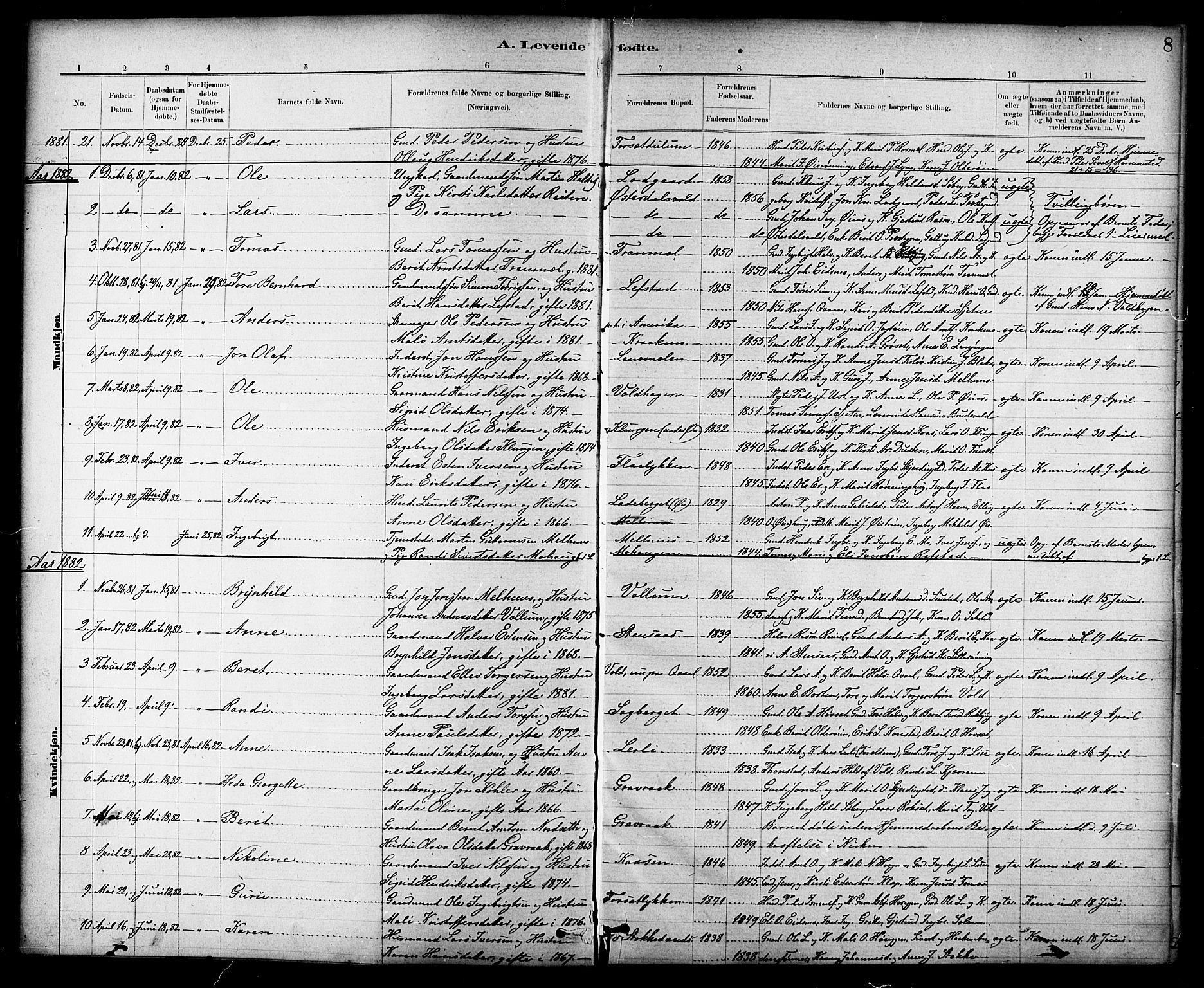 SAT, Ministerialprotokoller, klokkerbøker og fødselsregistre - Sør-Trøndelag, 691/L1094: Klokkerbok nr. 691C05, 1879-1911, s. 8