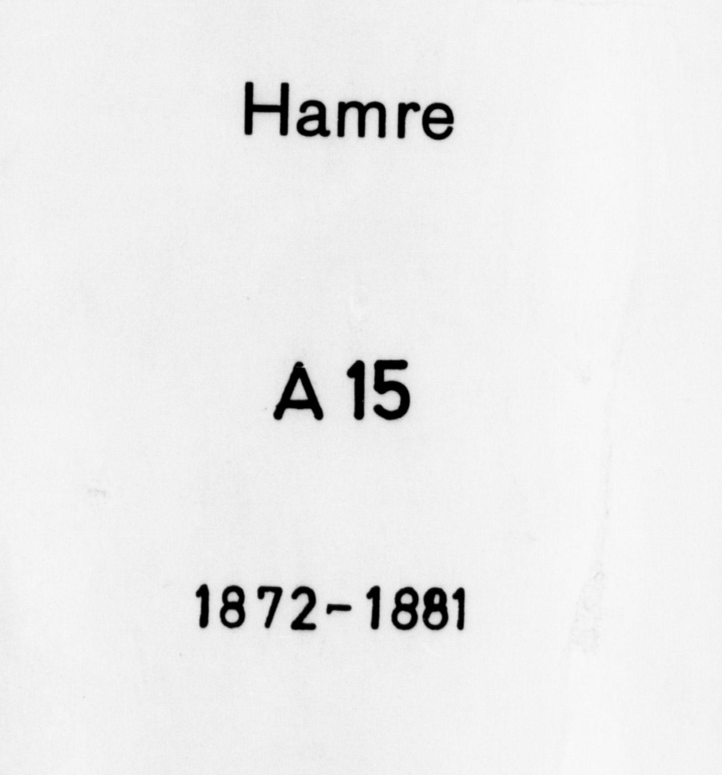 SAB, Hamre Sokneprestembete, H/Haa: Ministerialbok nr. A 15, 1870-1881