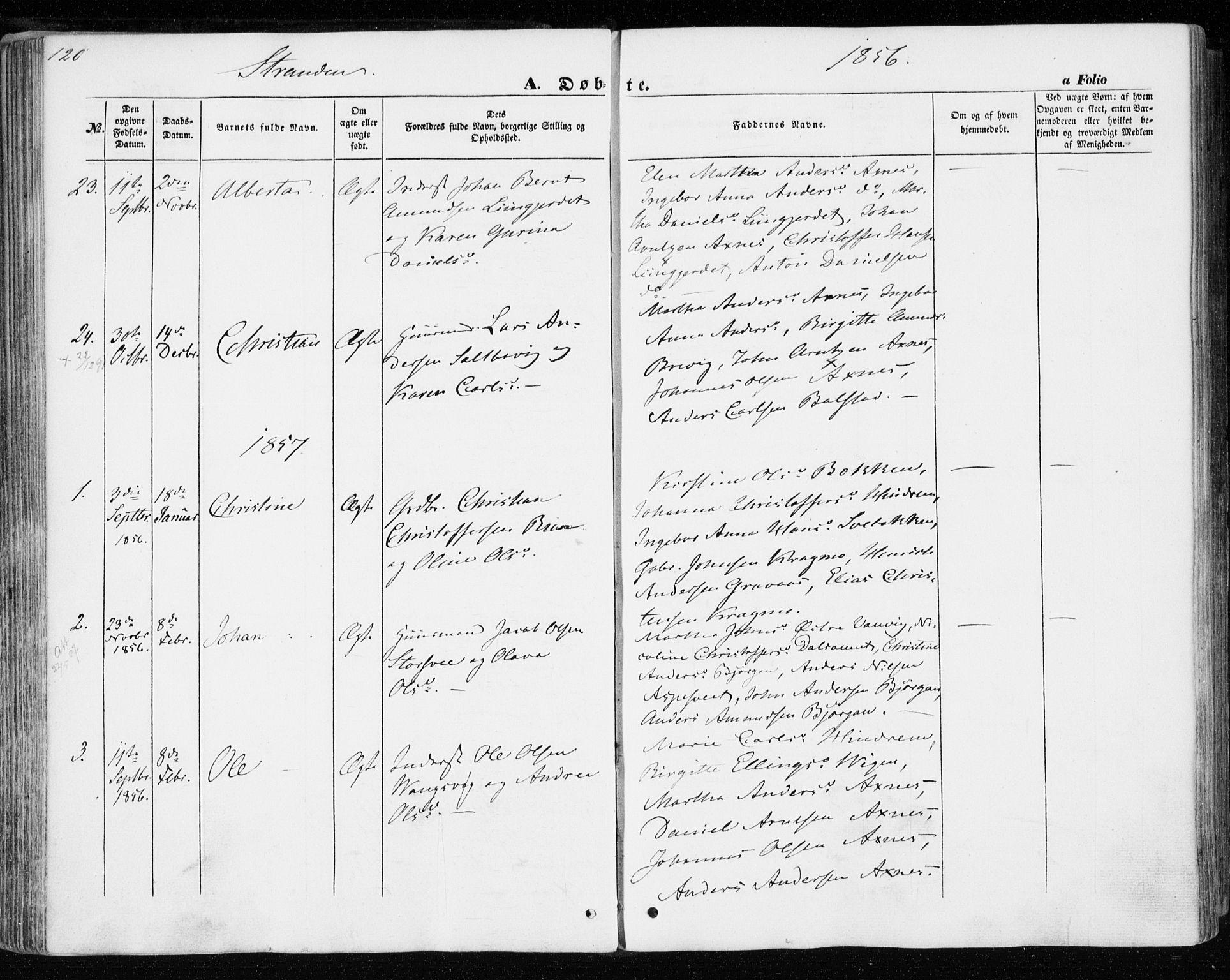 SAT, Ministerialprotokoller, klokkerbøker og fødselsregistre - Nord-Trøndelag, 701/L0008: Ministerialbok nr. 701A08 /2, 1854-1863, s. 120