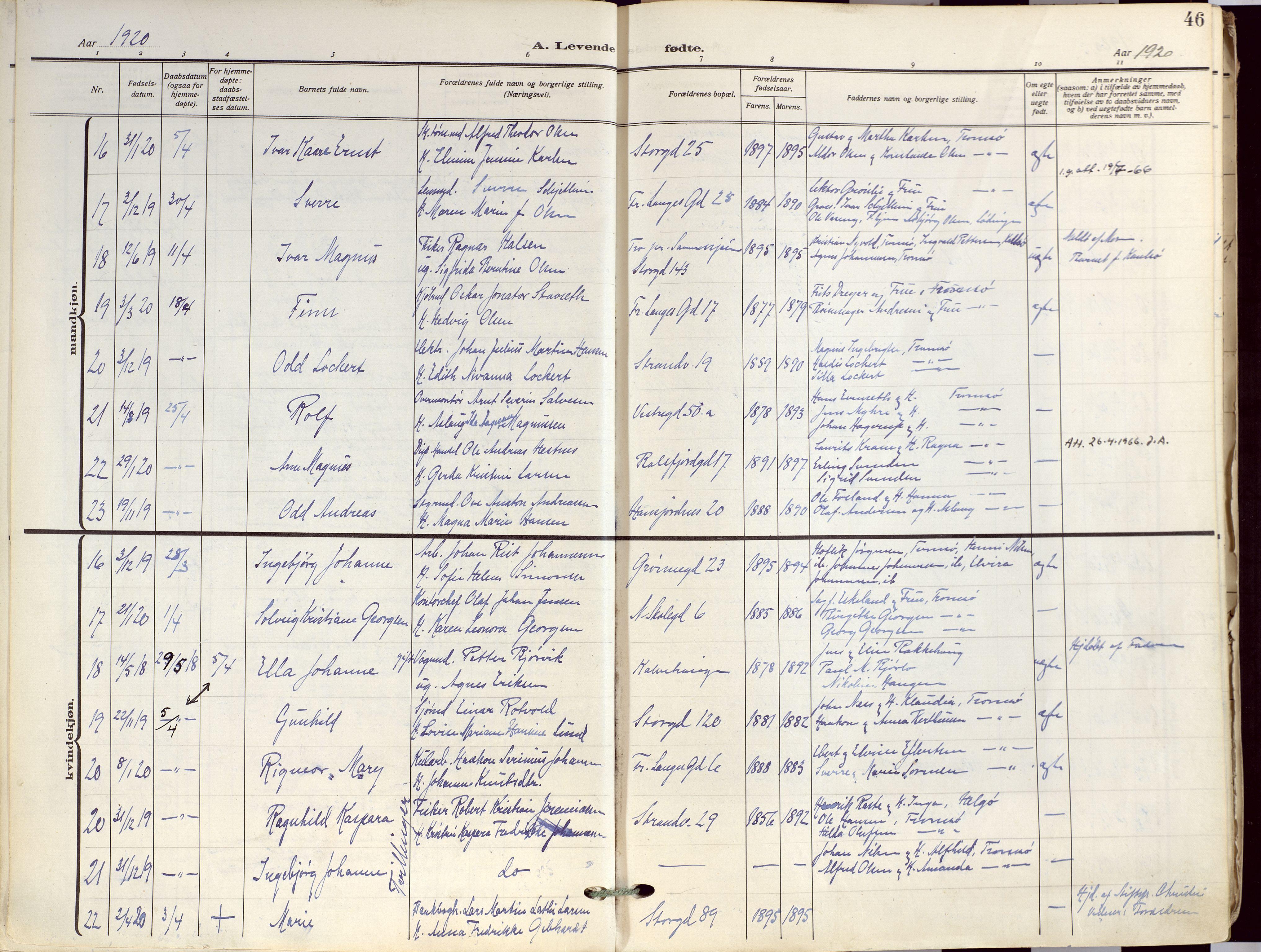SATØ, Tromsø sokneprestkontor/stiftsprosti/domprosti, G/Ga/L0019kirke: Ministerialbok nr. 19, 1917-1927, s. 46