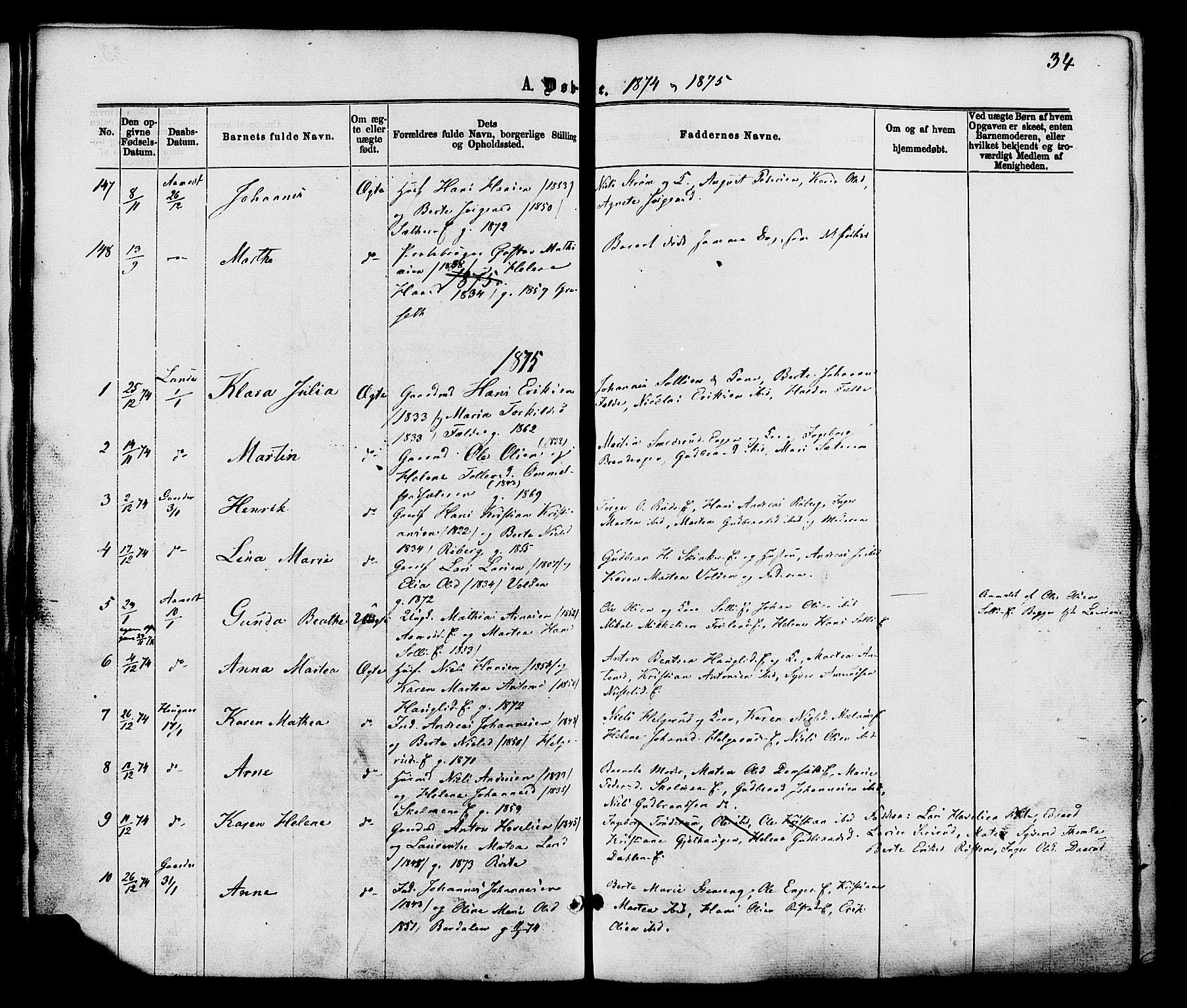 SAH, Nordre Land prestekontor, Ministerialbok nr. 2, 1872-1881, s. 34