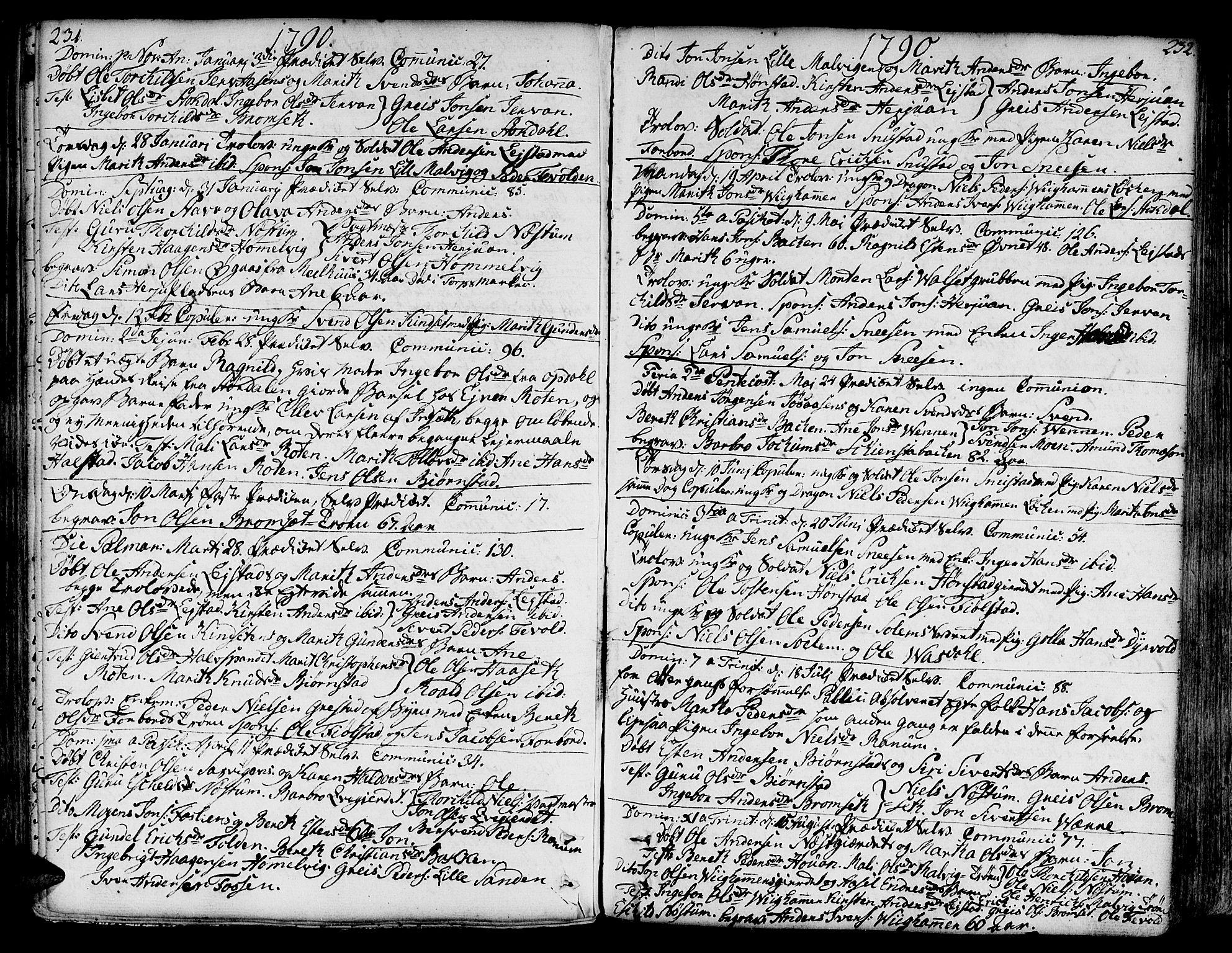 SAT, Ministerialprotokoller, klokkerbøker og fødselsregistre - Sør-Trøndelag, 606/L0281: Ministerialbok nr. 606A02 /2, 1781-1817, s. 231-232