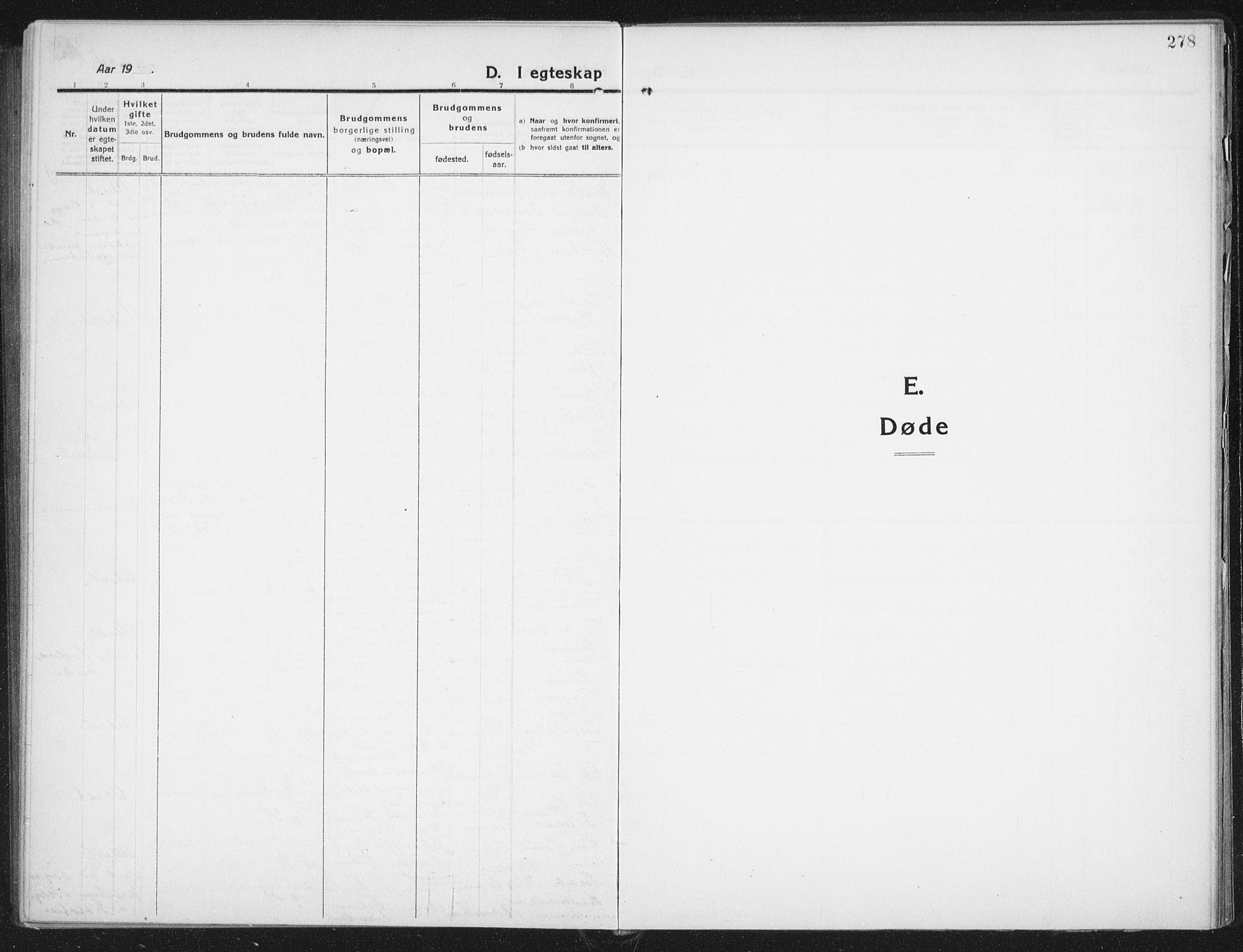 SAT, Ministerialprotokoller, klokkerbøker og fødselsregistre - Nordland, 882/L1183: Klokkerbok nr. 882C01, 1911-1938, s. 278