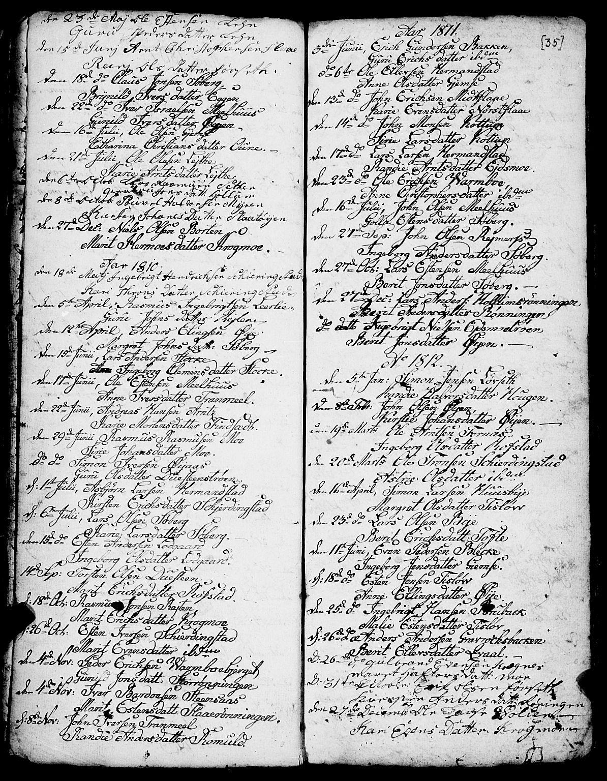 SAT, Ministerialprotokoller, klokkerbøker og fødselsregistre - Sør-Trøndelag, 691/L1091: Klokkerbok nr. 691C02, 1802-1815, s. 35