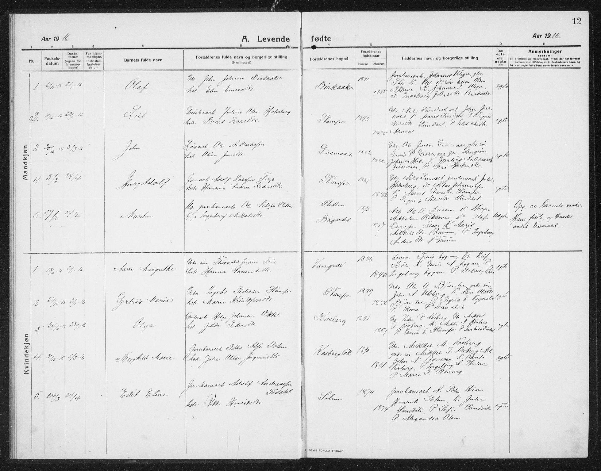 SAT, Ministerialprotokoller, klokkerbøker og fødselsregistre - Sør-Trøndelag, 675/L0888: Klokkerbok nr. 675C01, 1913-1935, s. 12