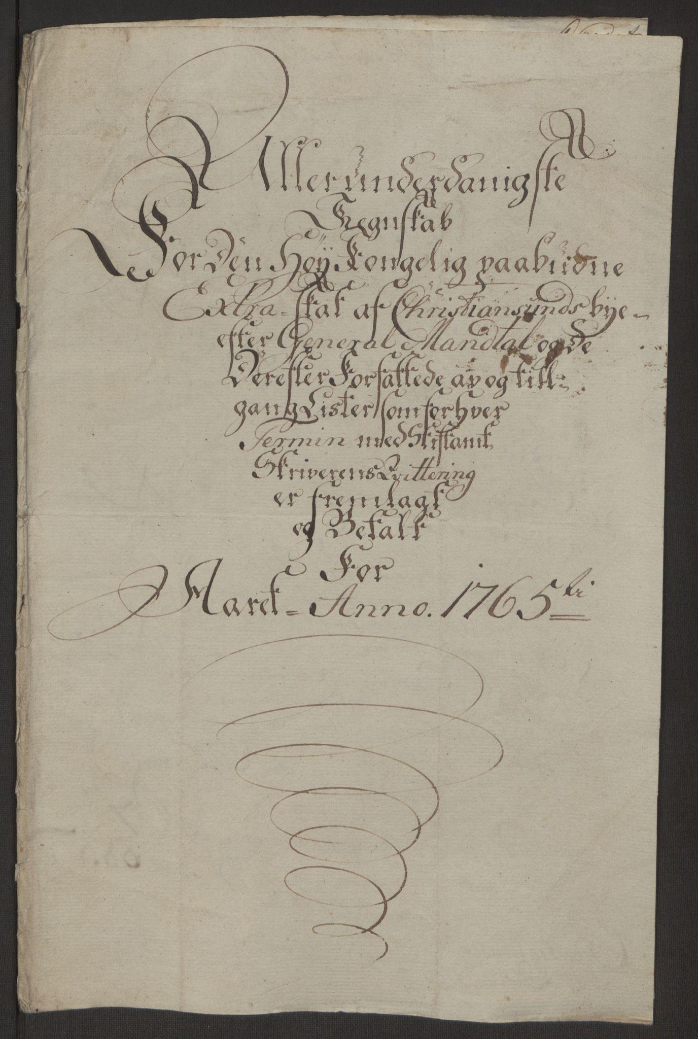 RA, Rentekammeret inntil 1814, Reviderte regnskaper, Byregnskaper, R/Rr/L0495: [R1] Kontribusjonsregnskap, 1762-1772, s. 55