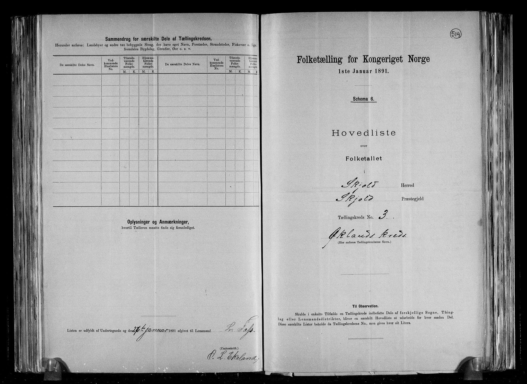 RA, Folketelling 1891 for 1154 Skjold herred, 1891, s. 9