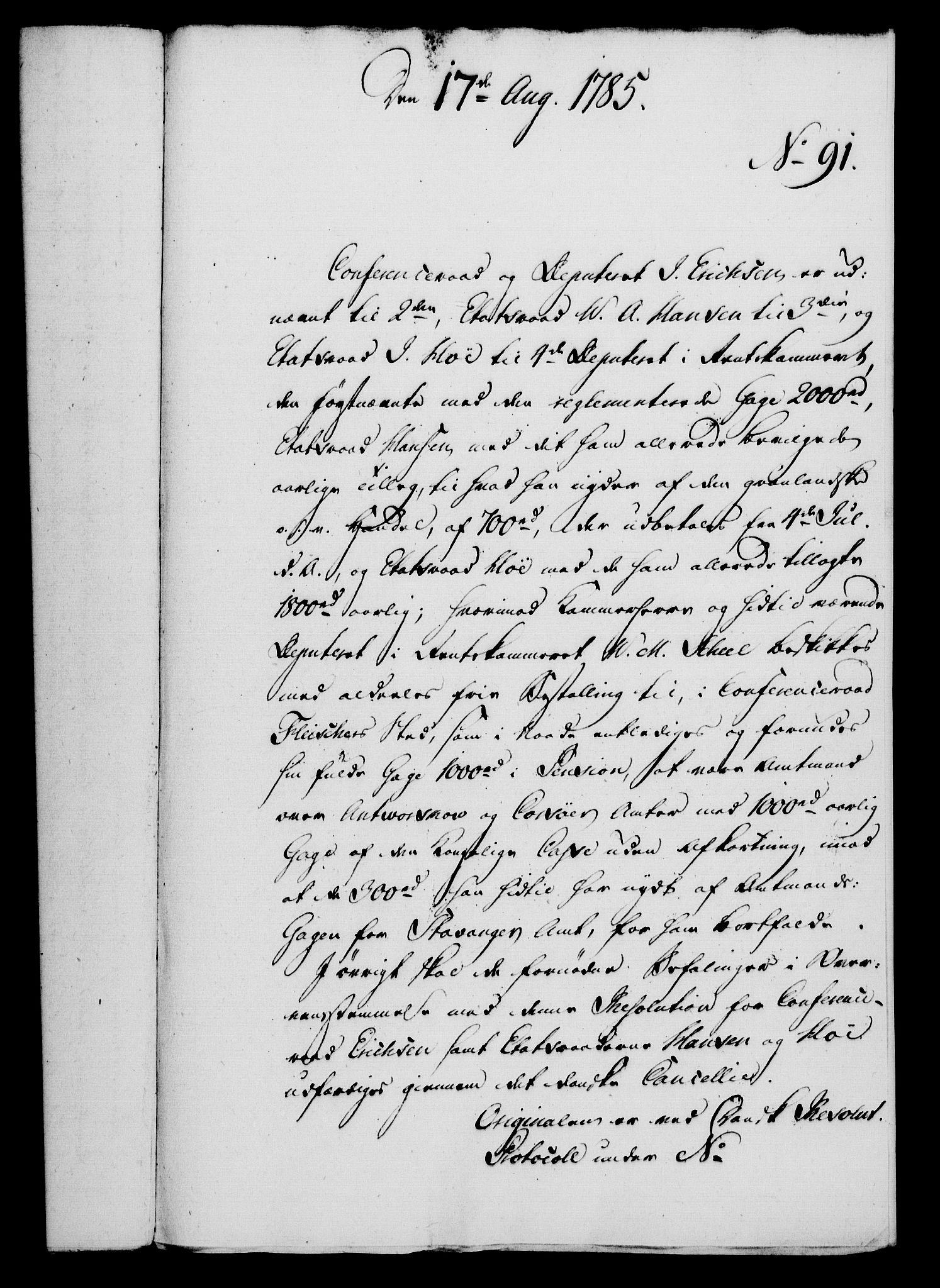 RA, Rentekammeret, Kammerkanselliet, G/Gf/Gfa/L0067: Norsk relasjons- og resolusjonsprotokoll (merket RK 52.67), 1785, s. 767