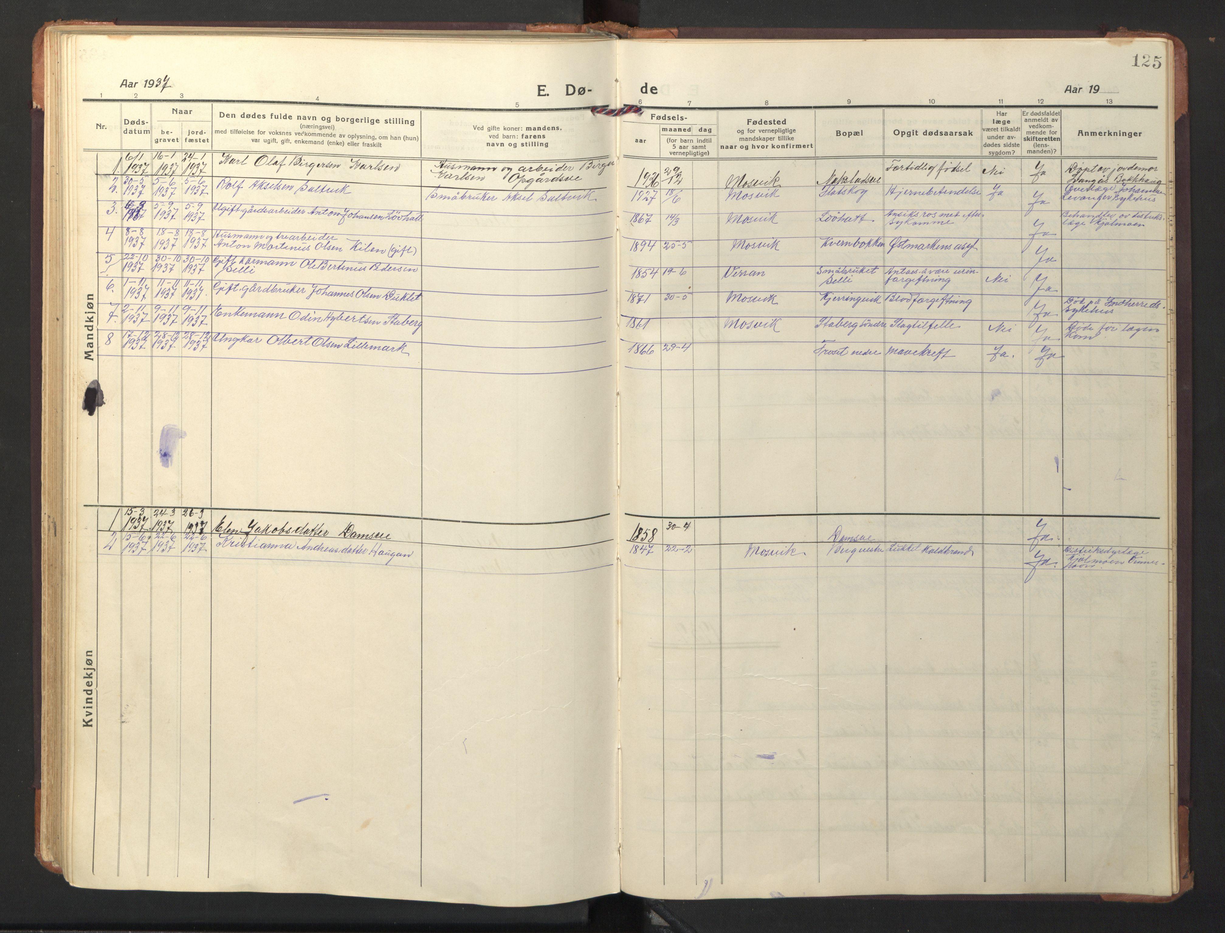 SAT, Ministerialprotokoller, klokkerbøker og fødselsregistre - Nord-Trøndelag, 733/L0328: Klokkerbok nr. 733C03, 1919-1966, s. 125