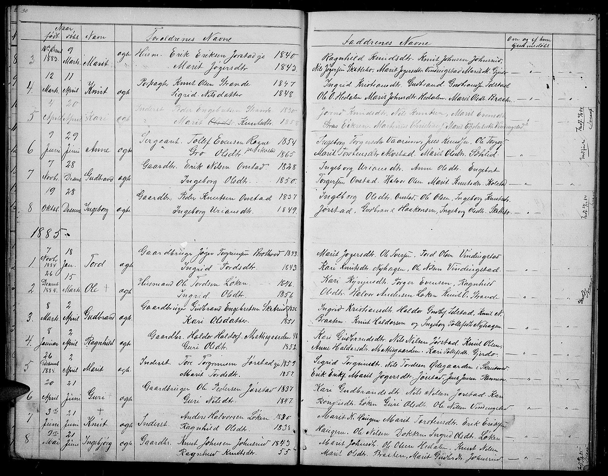 SAH, Øystre Slidre prestekontor, Klokkerbok nr. 2, 1866-1886, s. 30-31
