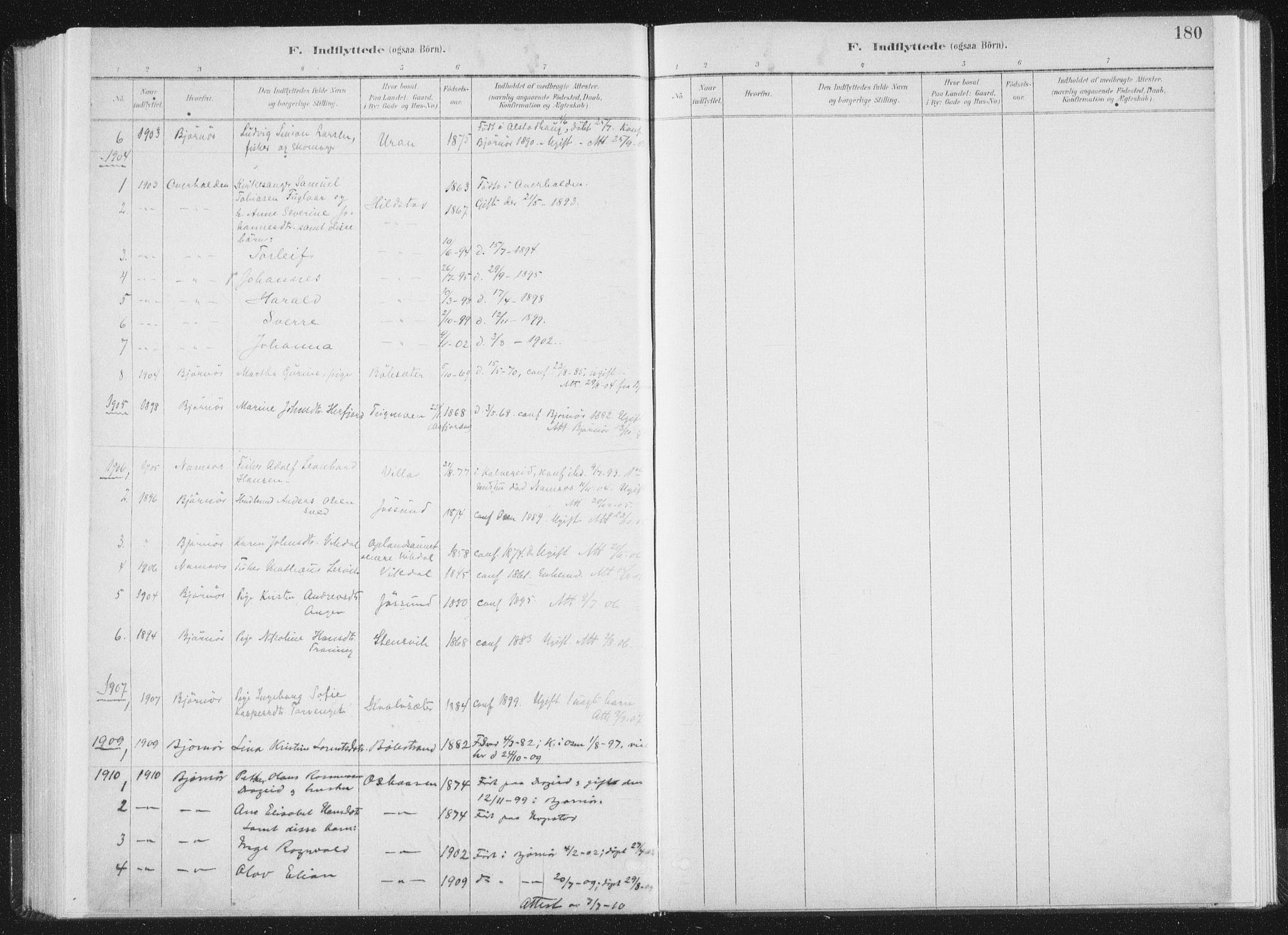 SAT, Ministerialprotokoller, klokkerbøker og fødselsregistre - Nord-Trøndelag, 771/L0597: Ministerialbok nr. 771A04, 1885-1910, s. 180