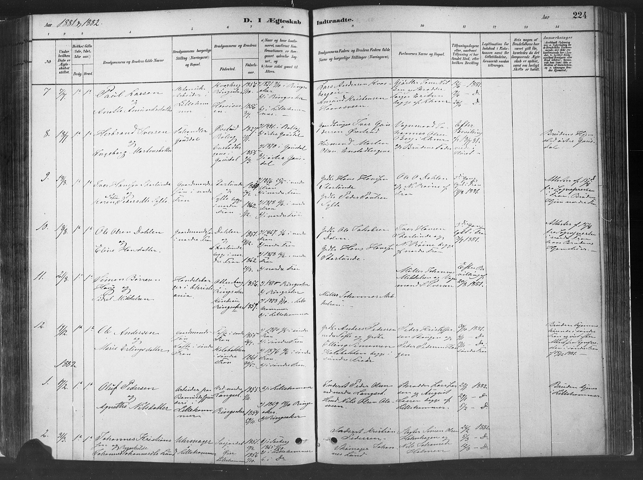 SAH, Fåberg prestekontor, Ministerialbok nr. 10, 1879-1900, s. 224