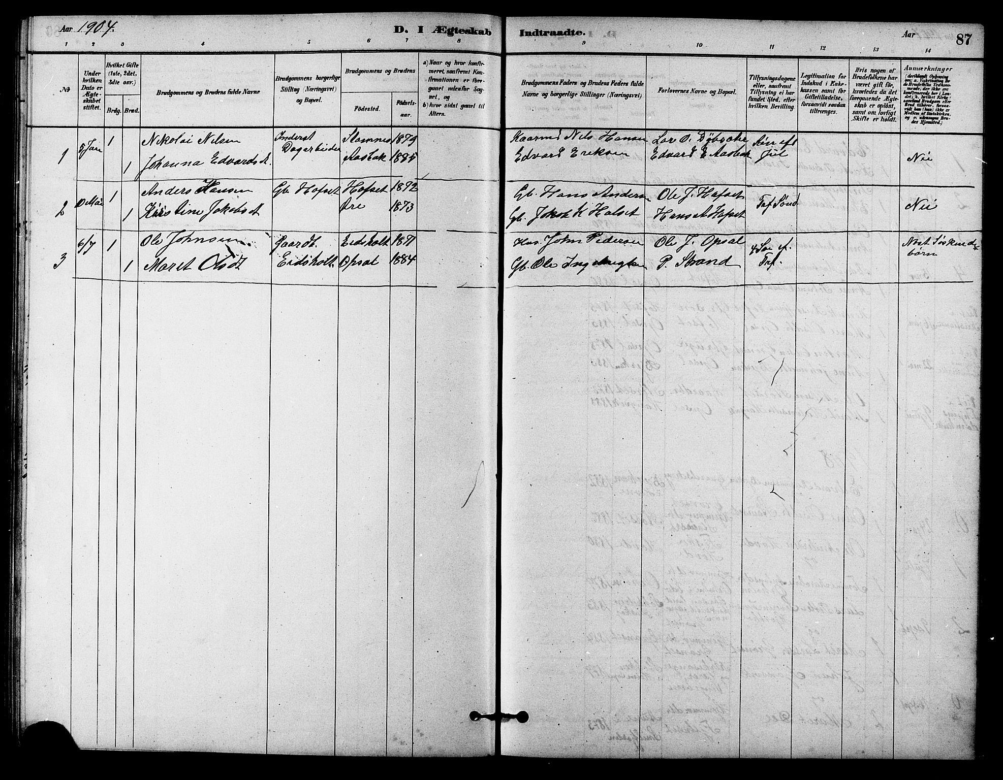 SAT, Ministerialprotokoller, klokkerbøker og fødselsregistre - Sør-Trøndelag, 631/L0514: Klokkerbok nr. 631C02, 1879-1912, s. 87