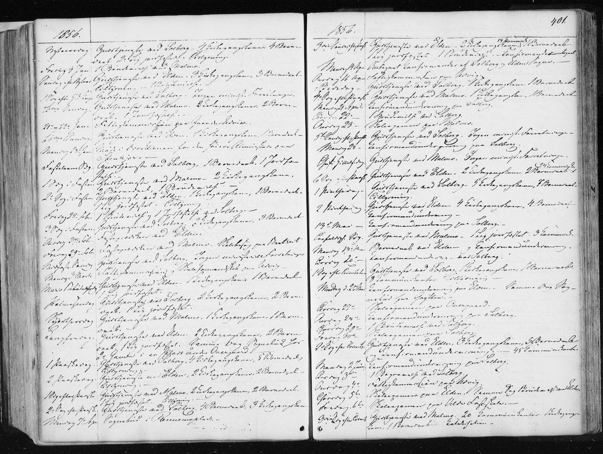 SAT, Ministerialprotokoller, klokkerbøker og fødselsregistre - Nord-Trøndelag, 741/L0393: Ministerialbok nr. 741A07, 1849-1863, s. 401