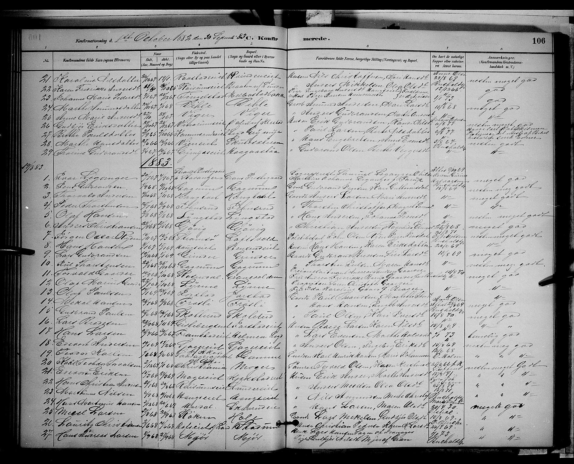 SAH, Gran prestekontor, Klokkerbok nr. 2, 1879-1892, s. 106