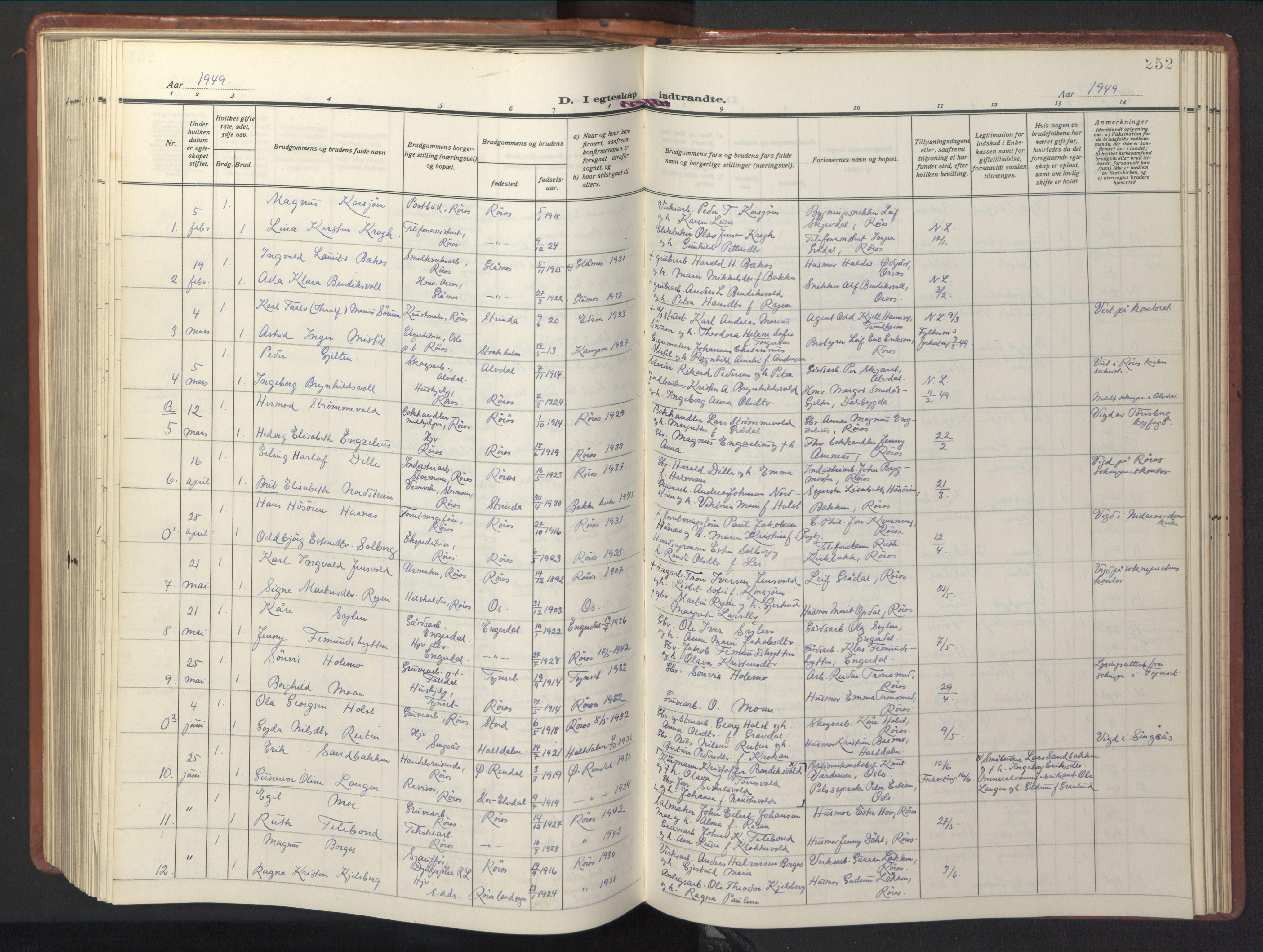 SAT, Ministerialprotokoller, klokkerbøker og fødselsregistre - Sør-Trøndelag, 681/L0943: Klokkerbok nr. 681C07, 1926-1954, s. 252