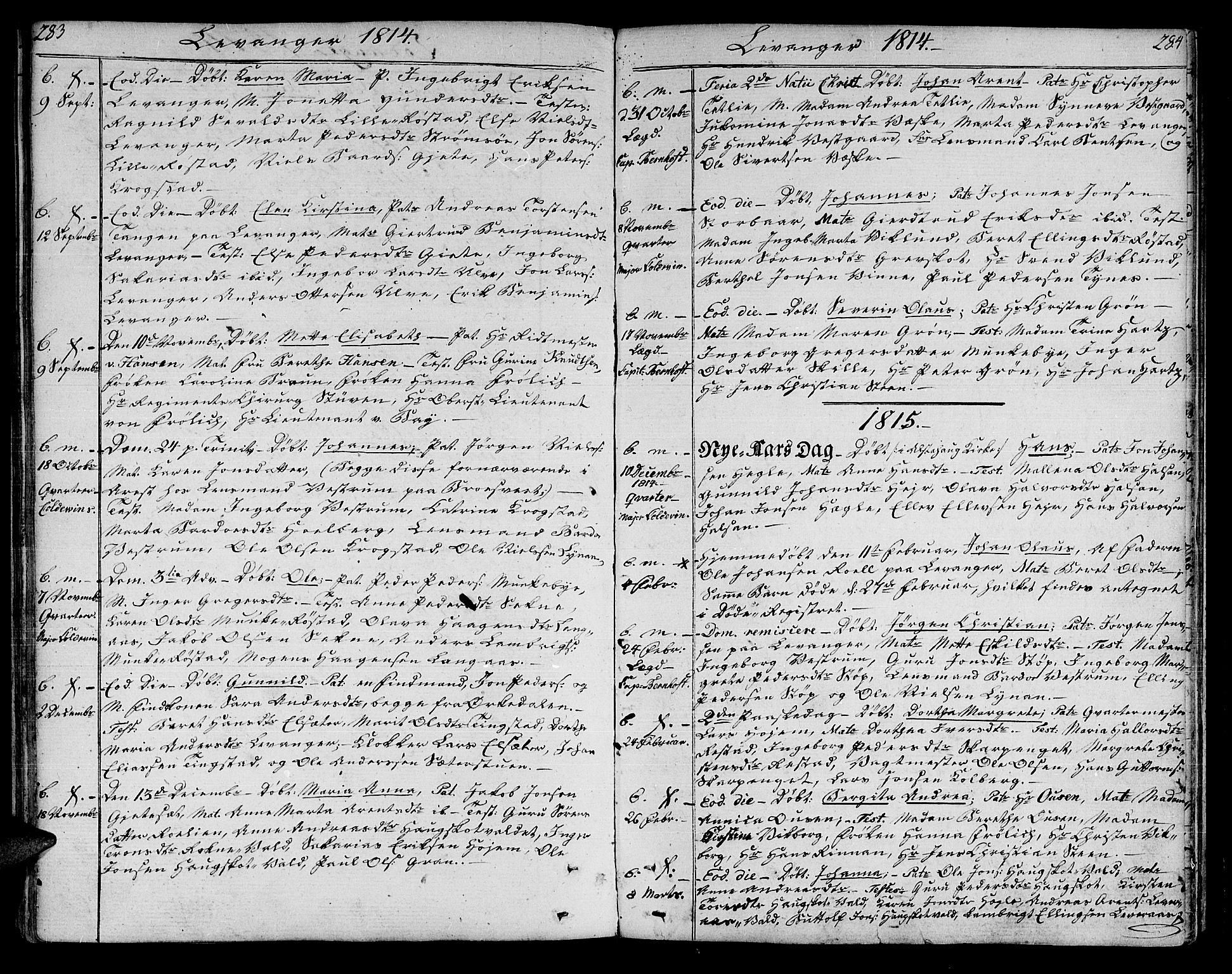 SAT, Ministerialprotokoller, klokkerbøker og fødselsregistre - Nord-Trøndelag, 717/L0145: Ministerialbok nr. 717A03 /3, 1810-1815, s. 283-284