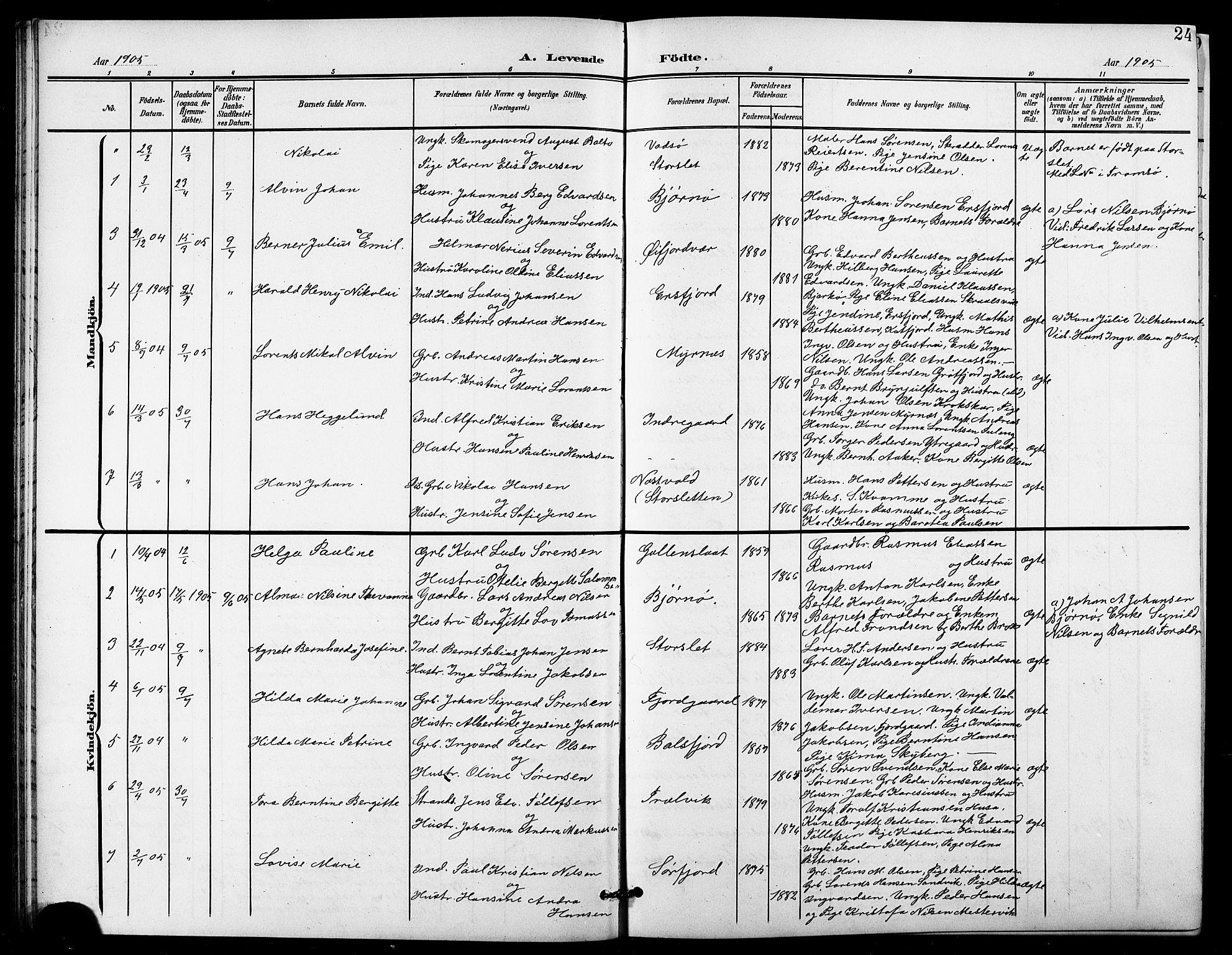 SATØ, Lenvik sokneprestembete, H/Ha/Hab/L0022klokker: Klokkerbok nr. 22, 1901-1918, s. 24