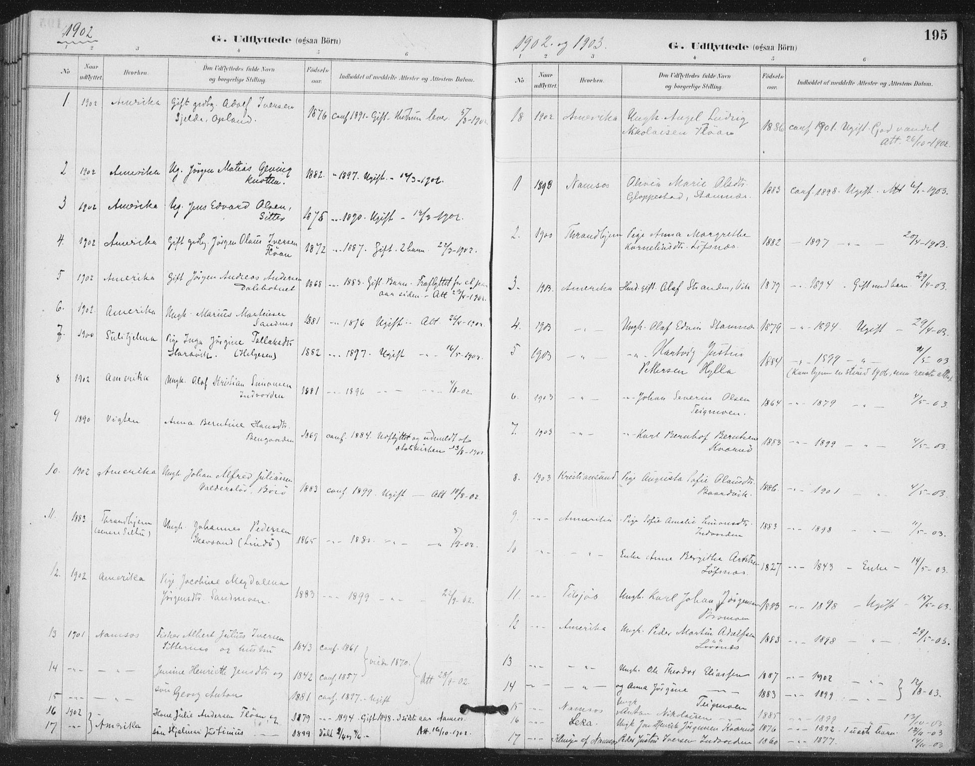 SAT, Ministerialprotokoller, klokkerbøker og fødselsregistre - Nord-Trøndelag, 772/L0603: Ministerialbok nr. 772A01, 1885-1912, s. 195