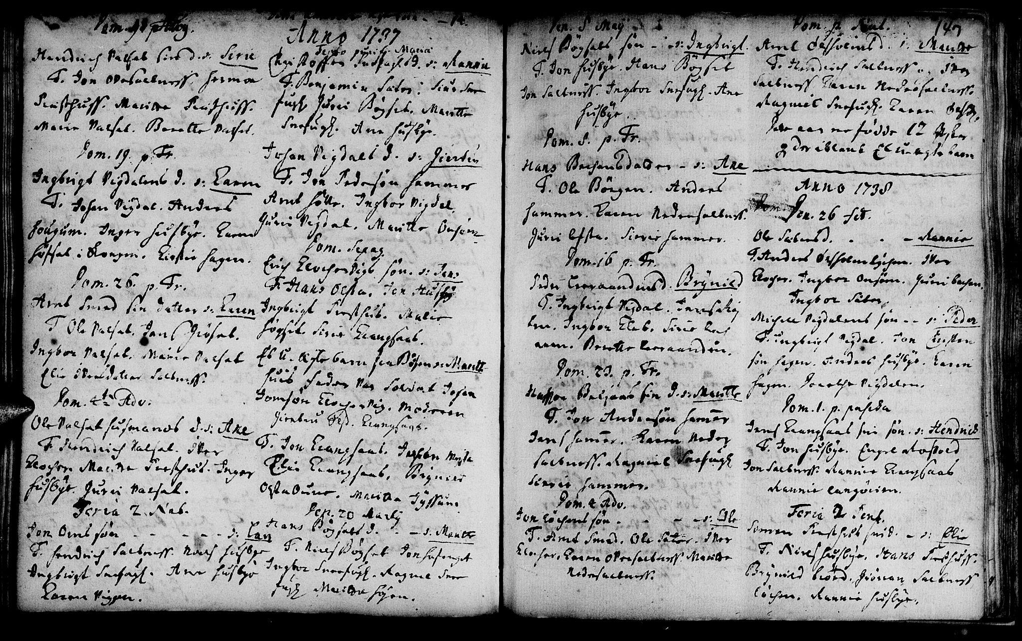 SAT, Ministerialprotokoller, klokkerbøker og fødselsregistre - Sør-Trøndelag, 666/L0783: Ministerialbok nr. 666A01, 1702-1753, s. 147