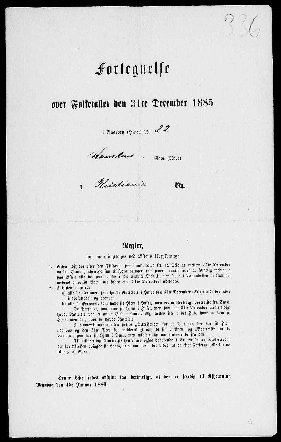 RA, Folketelling 1885 for 0301 Kristiania kjøpstad, 1885, s. 3193