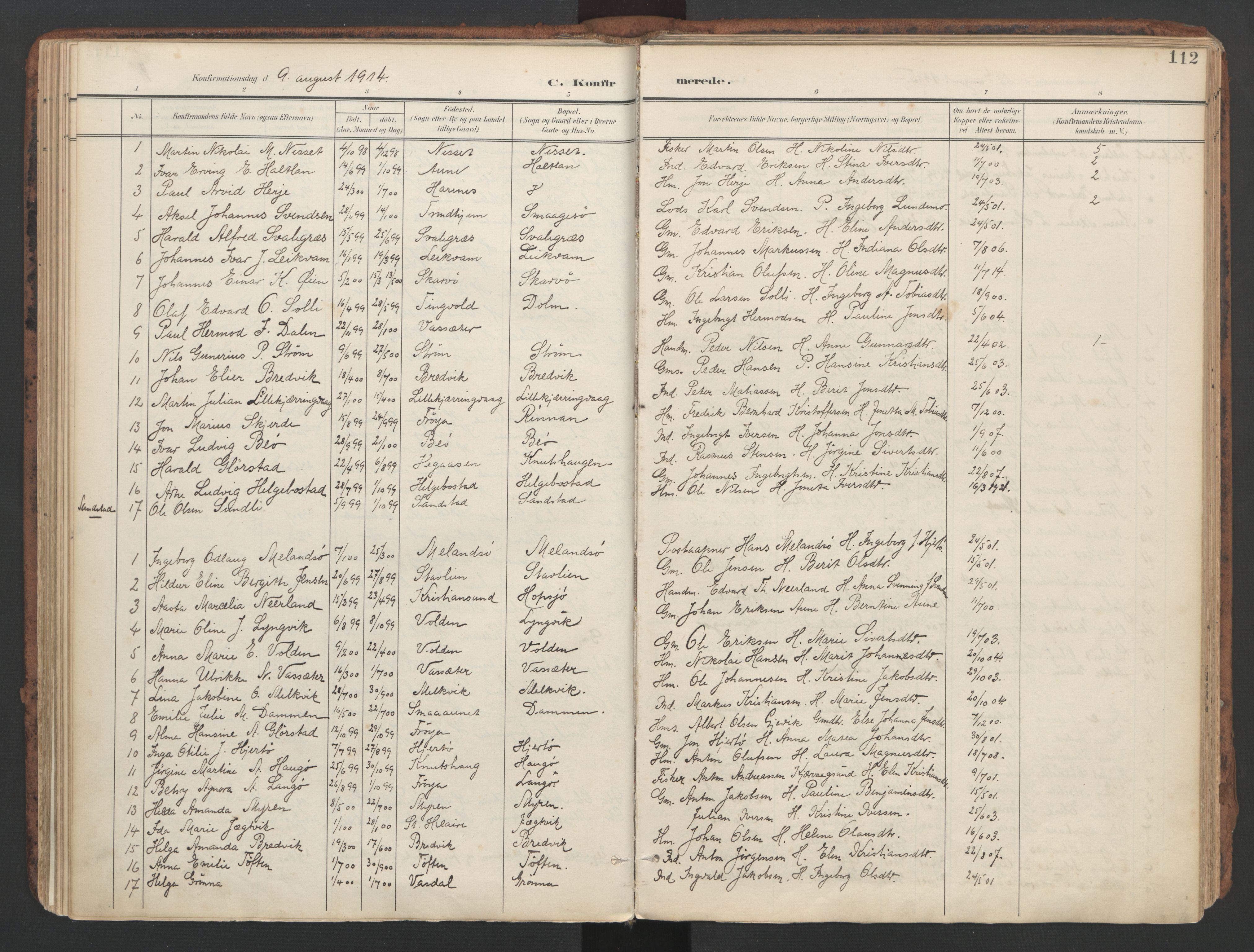 SAT, Ministerialprotokoller, klokkerbøker og fødselsregistre - Sør-Trøndelag, 634/L0537: Ministerialbok nr. 634A13, 1896-1922, s. 112