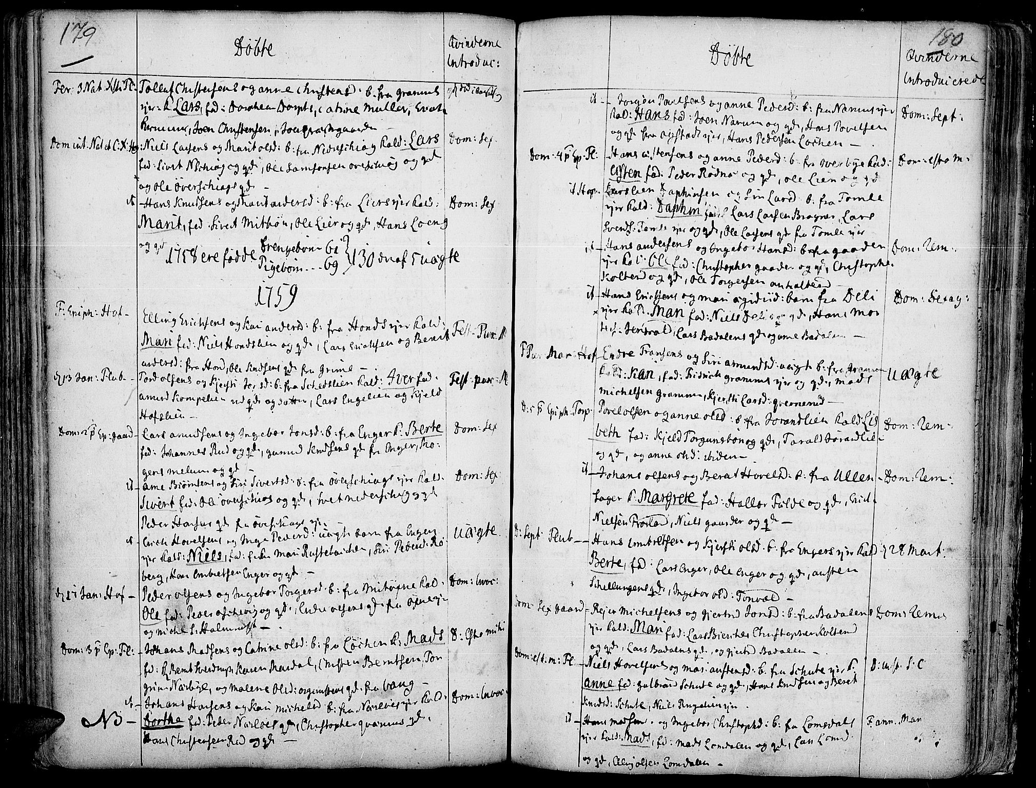 SAH, Land prestekontor, Ministerialbok nr. 2, 1733-1764, s. 179-180