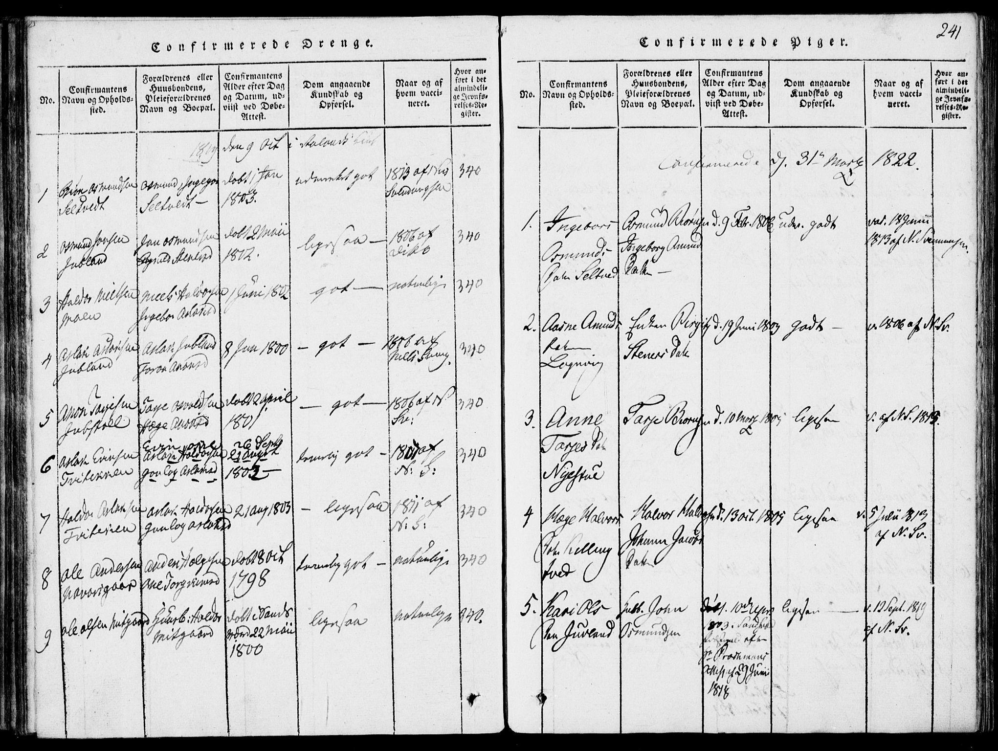 SAKO, Rauland kirkebøker, G/Ga/L0001: Klokkerbok nr. I 1, 1814-1843, s. 241