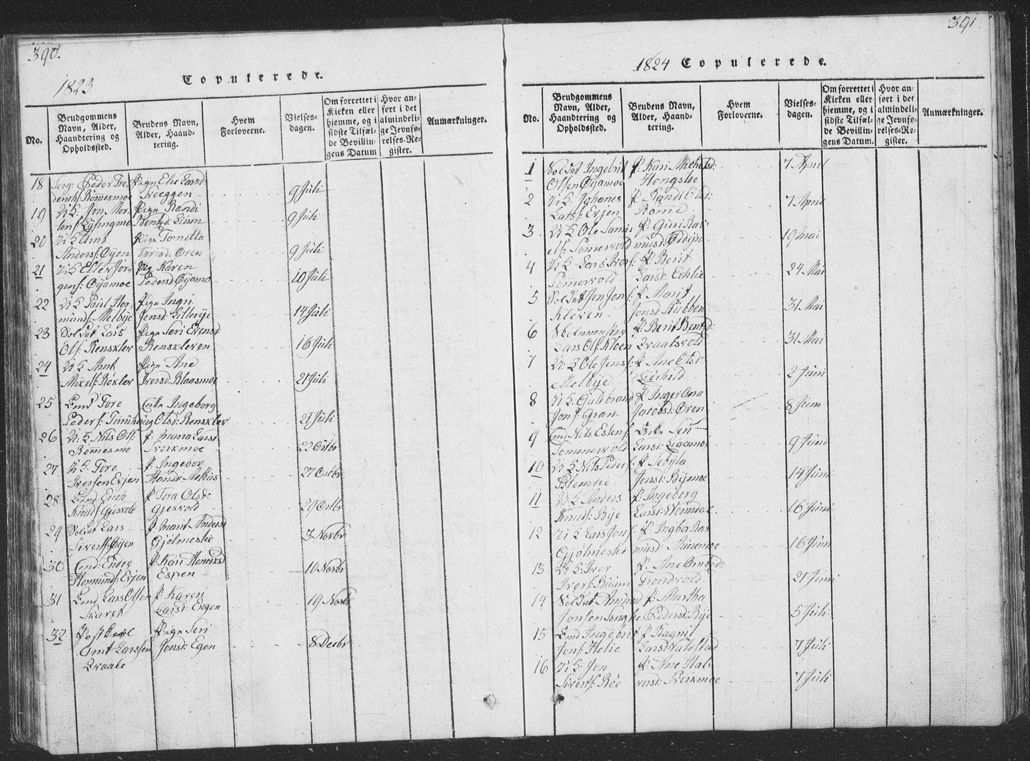 SAT, Ministerialprotokoller, klokkerbøker og fødselsregistre - Sør-Trøndelag, 668/L0816: Klokkerbok nr. 668C05, 1816-1893, s. 390-391